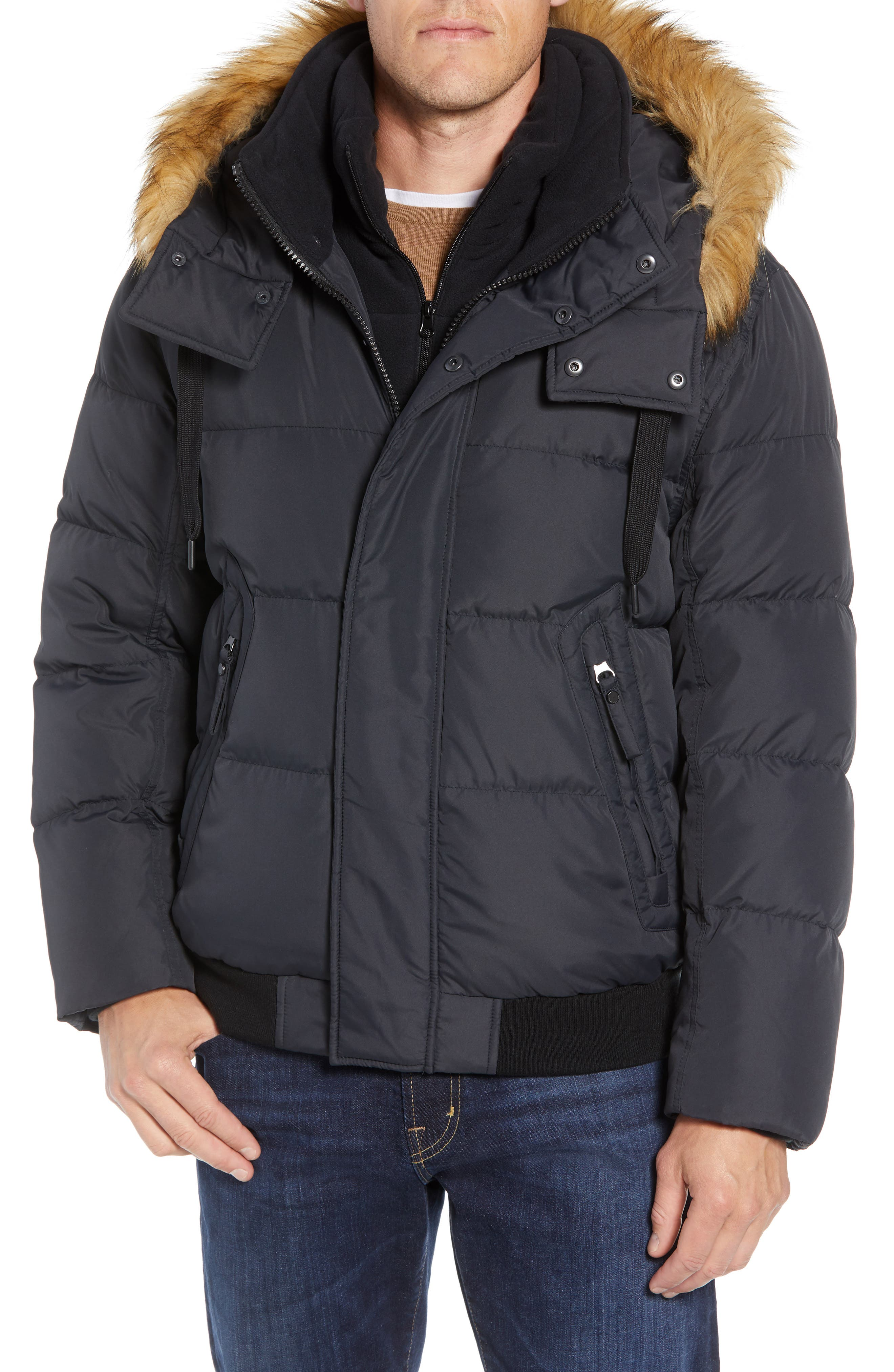 Clermont Insulated Bomber Jacket,                         Main,                         color, BLACK