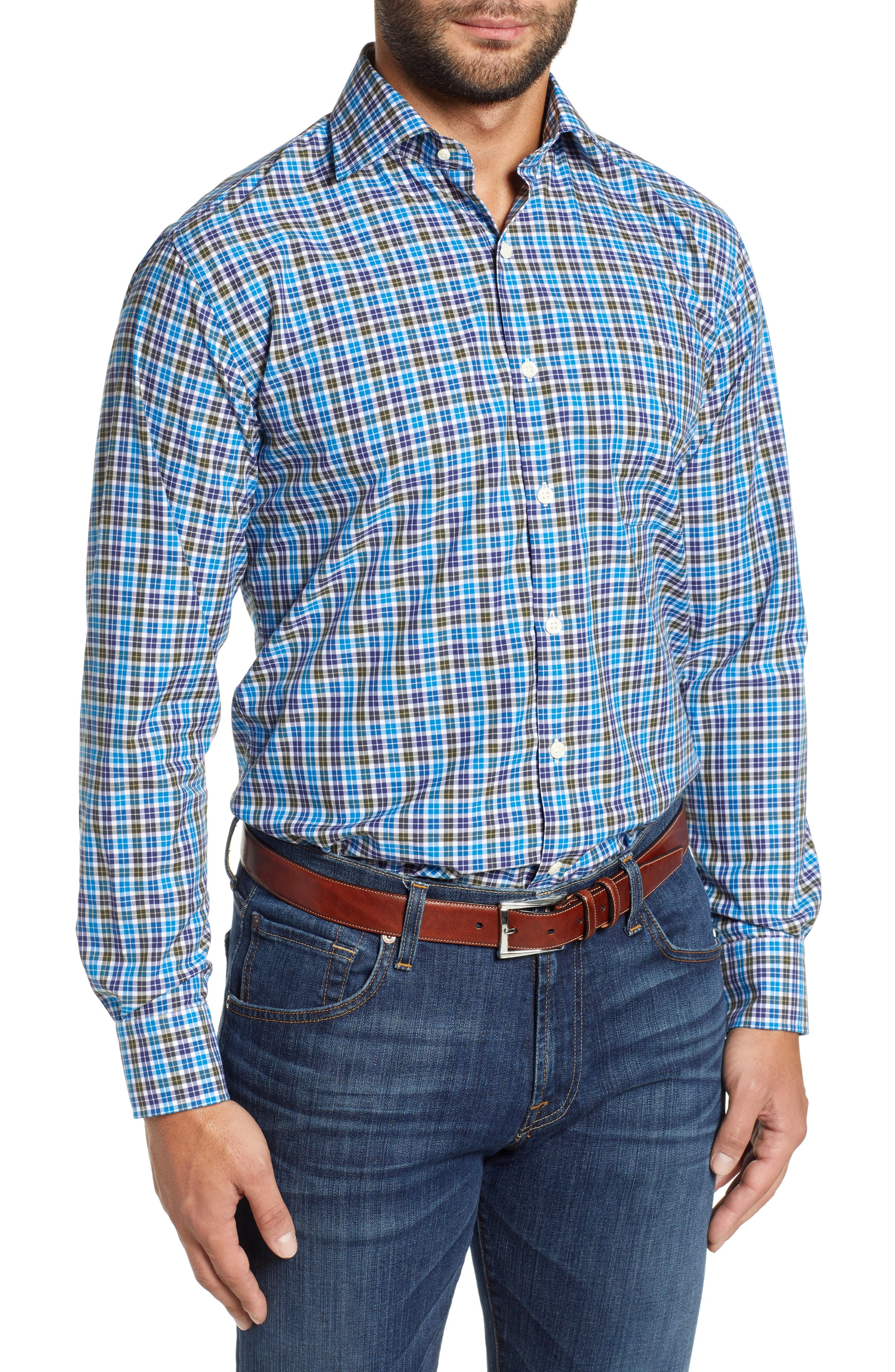 Crown Finish Salthill Check Regular Fit Sport Shirt,                             Main thumbnail 1, color,                             BLUE