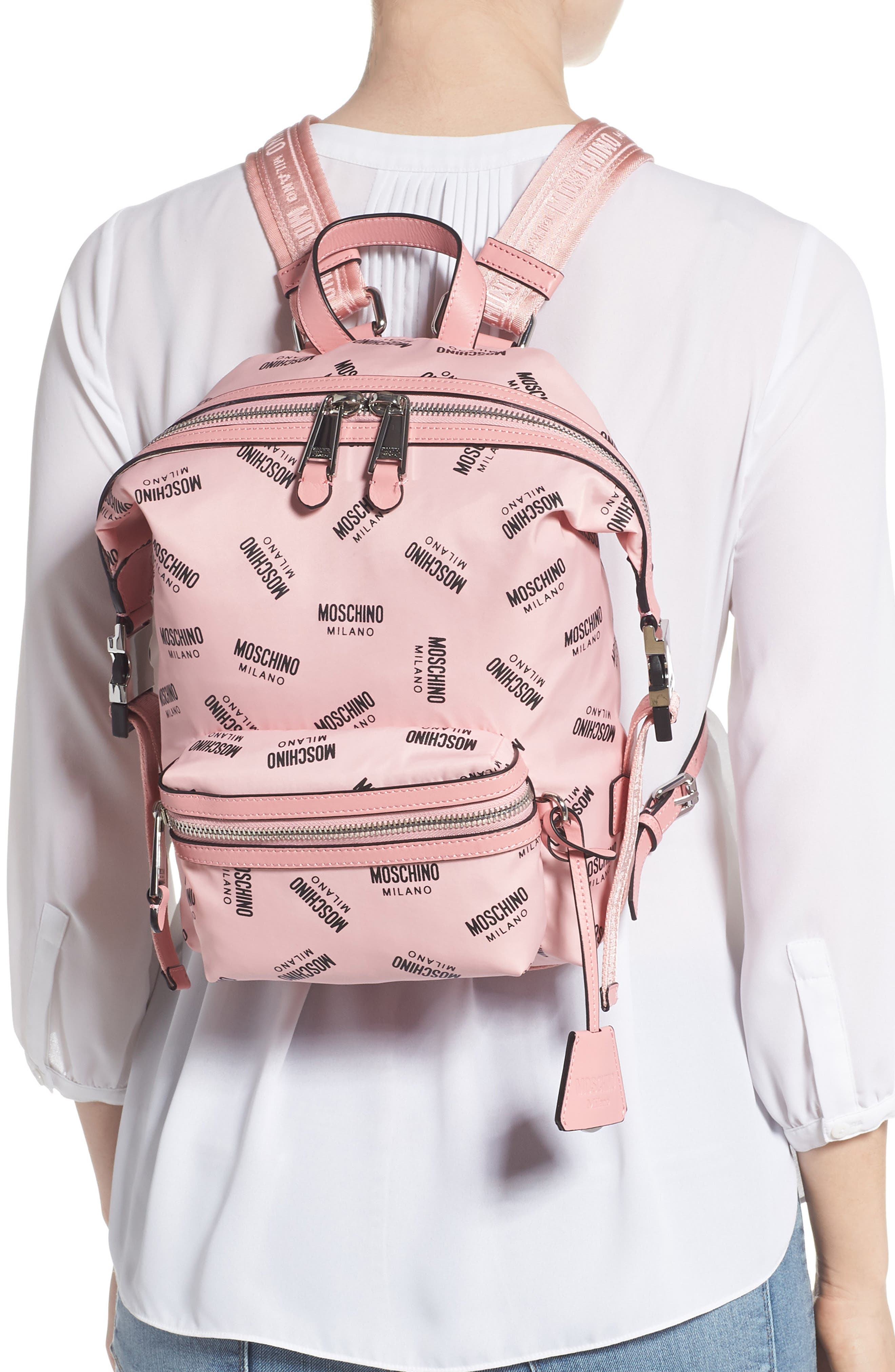 MOSCHINO,                             Small Logo Backpack,                             Alternate thumbnail 2, color,                             PINK
