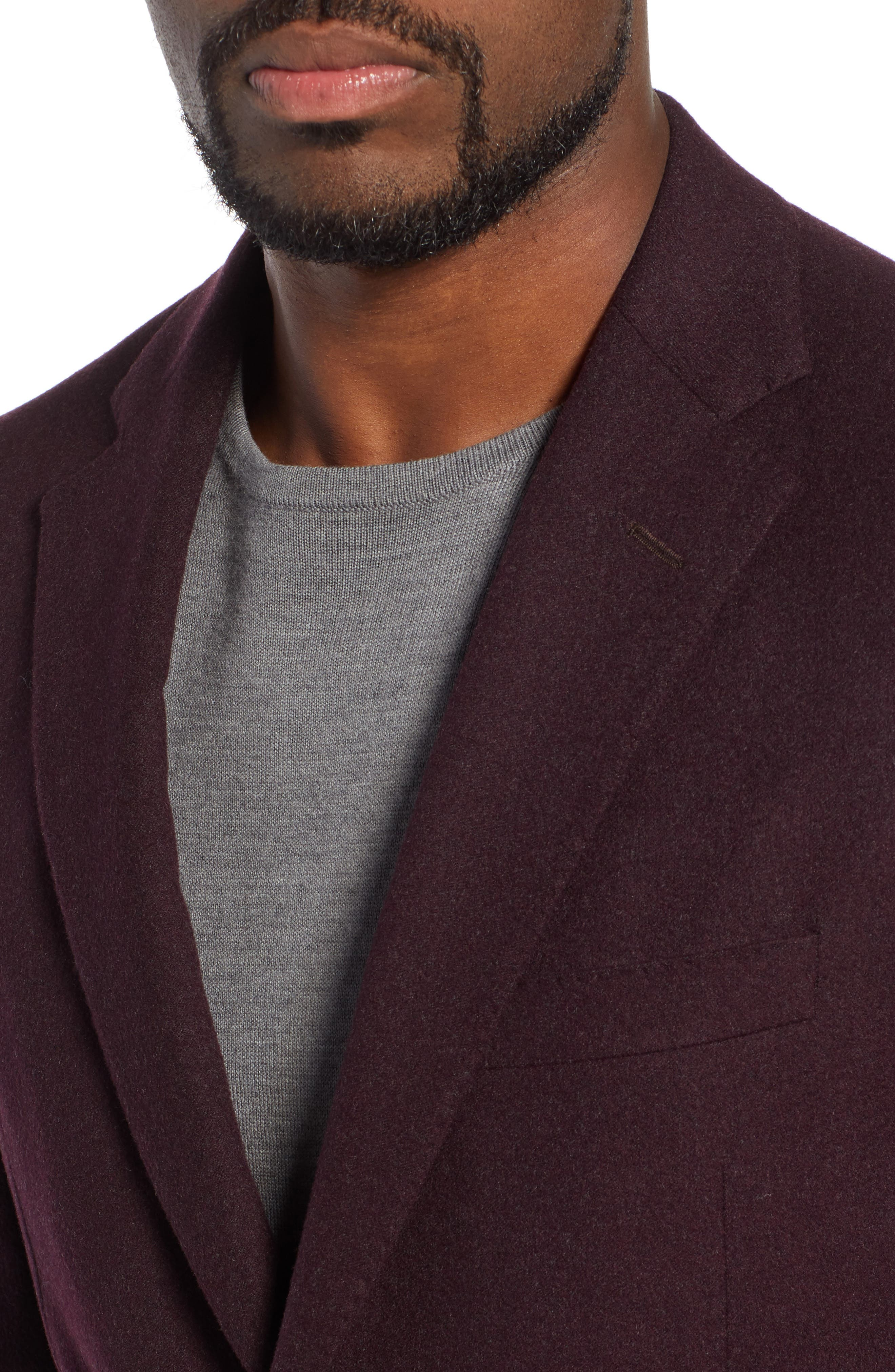 Classic Fit Wool Blazer,                             Alternate thumbnail 4, color,                             BURGUNDY