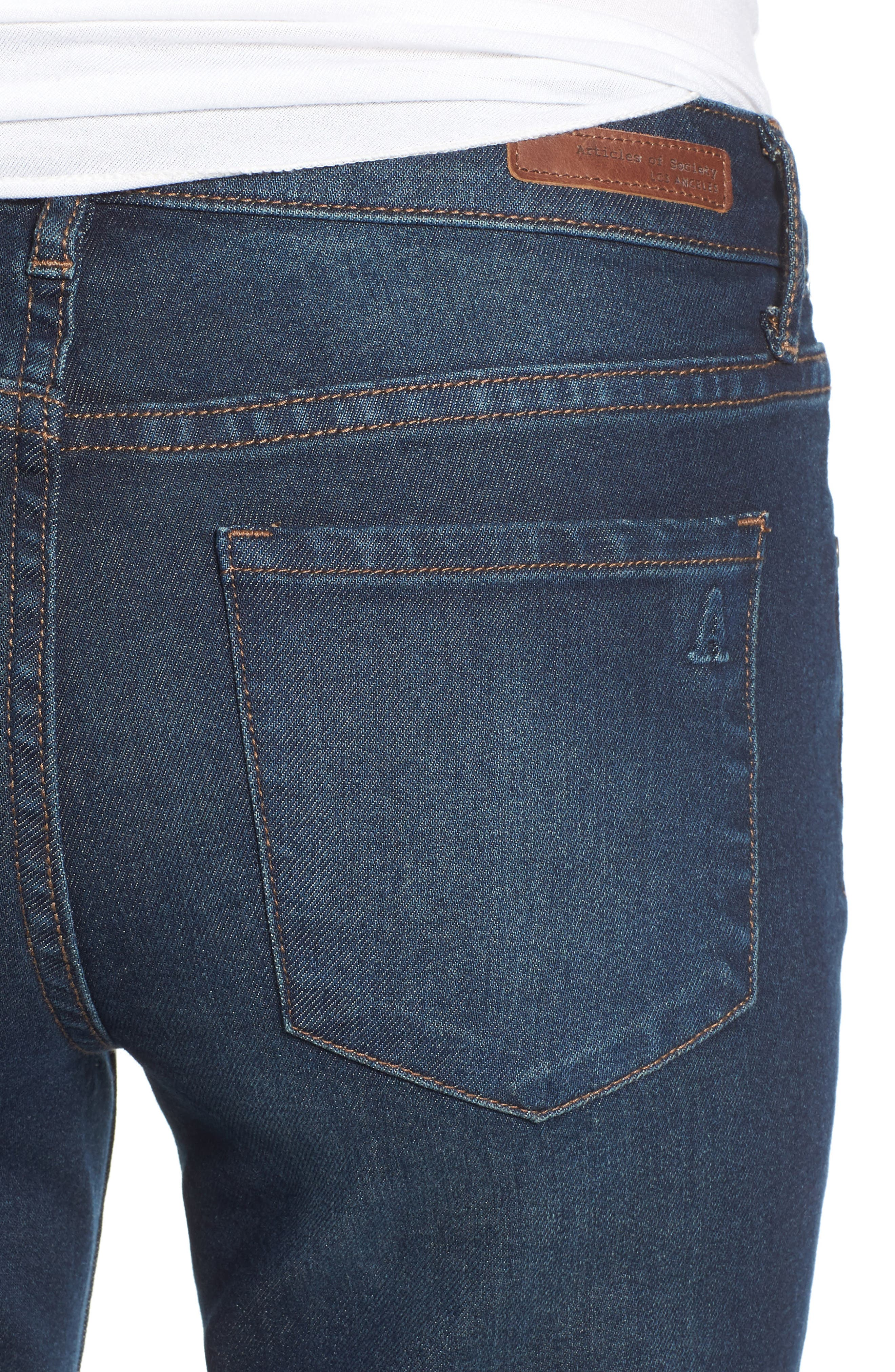 Faith Flare Jeans,                             Alternate thumbnail 4, color,                             NORTHPORT DARK WASH