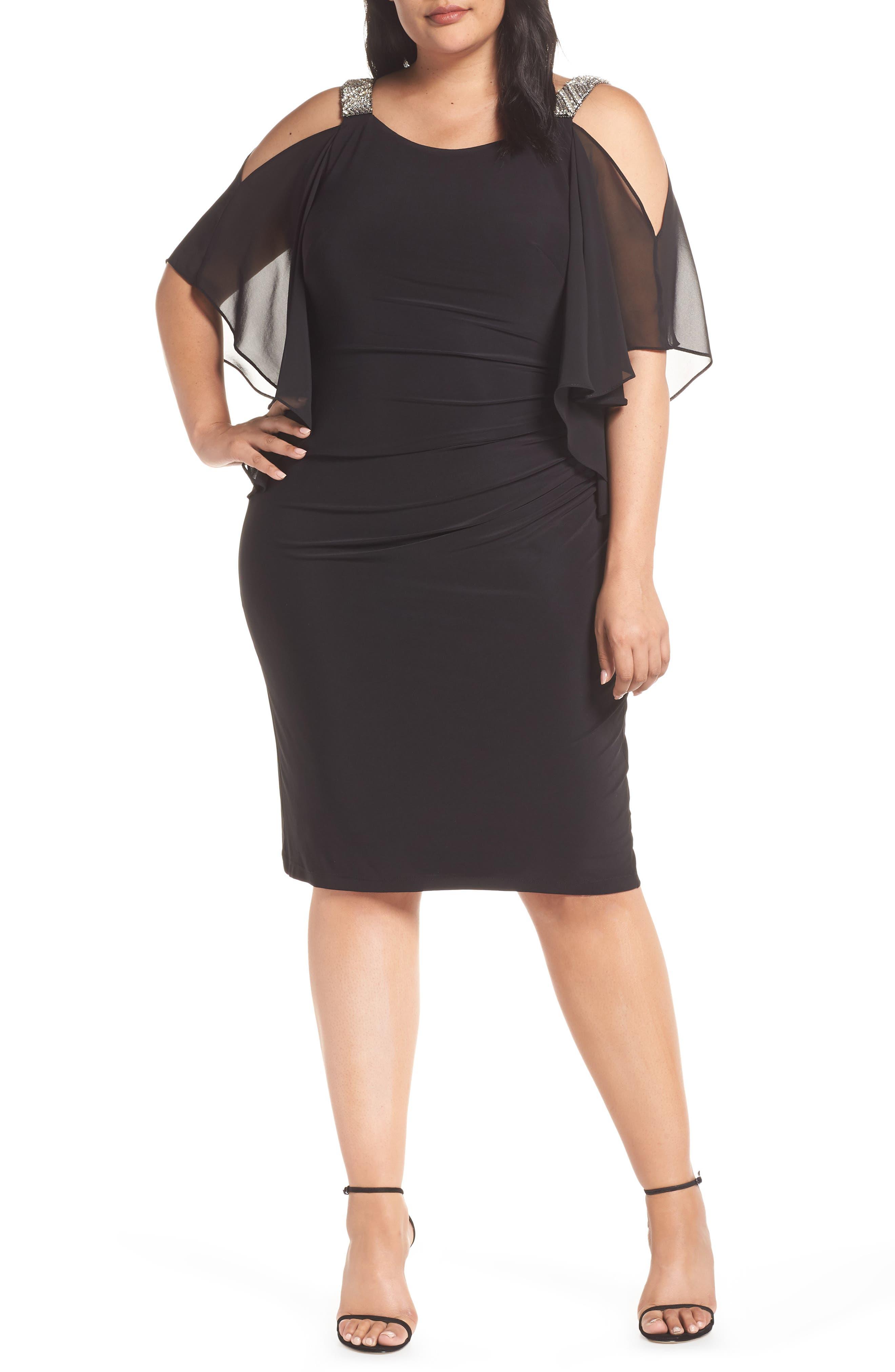 Plus Size Xscape Cold Shoulder Sparkle Dress, Black