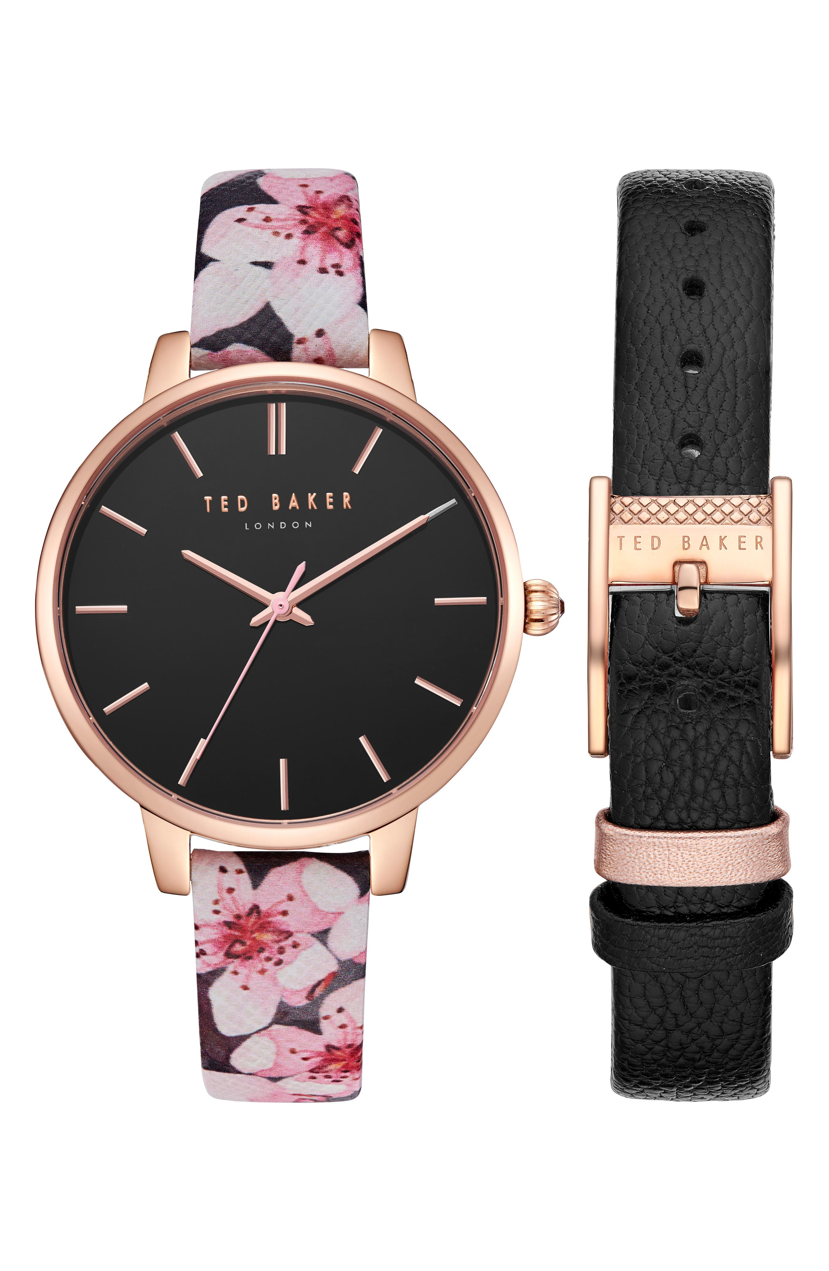 Kate Leather Strap Watch Set, 38mm,                             Main thumbnail 1, color,                             PINK FLORAL/ BLACK/ ROSE GOLD