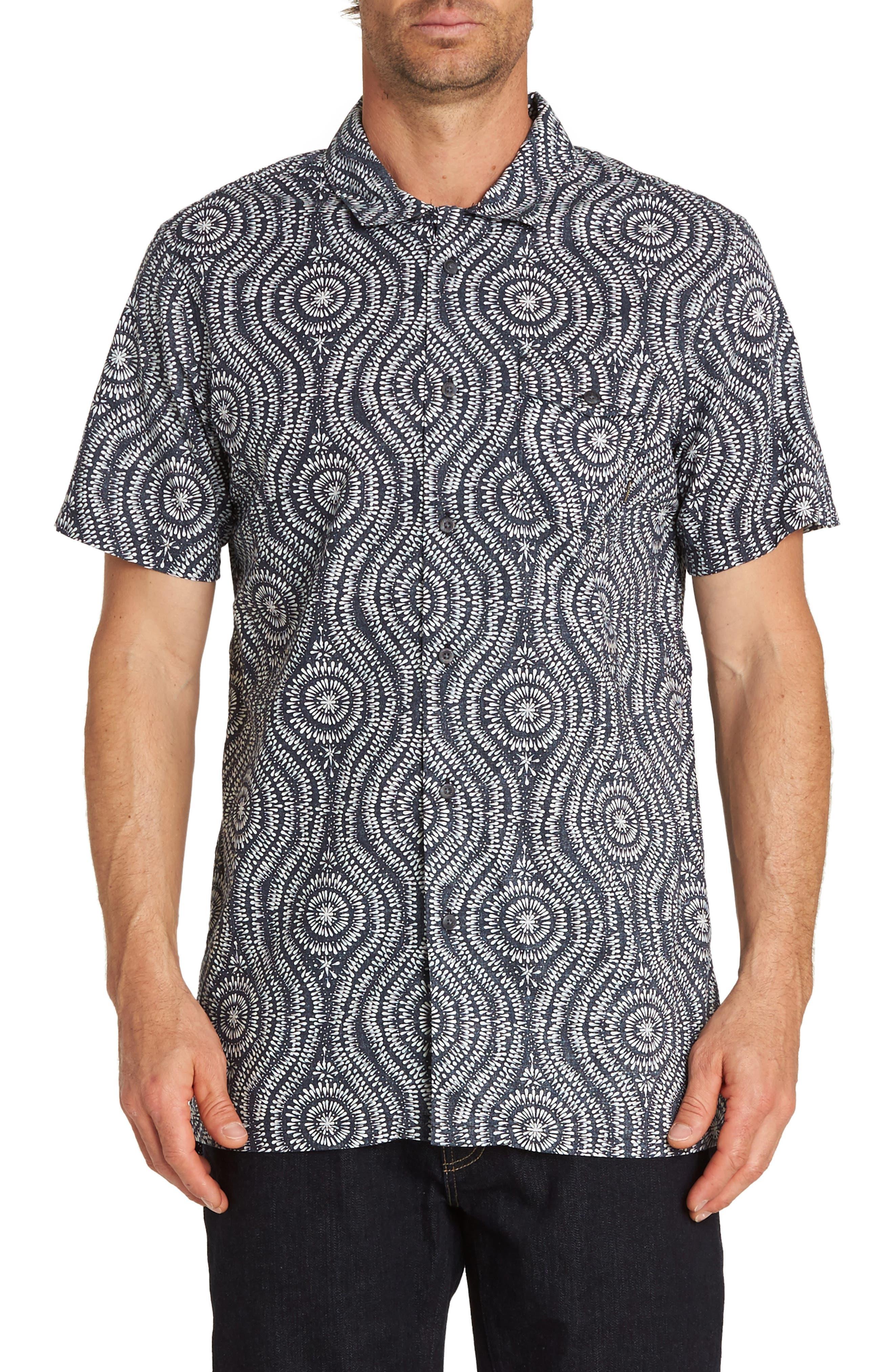 Cosmic Patterned Camp Shirt,                             Main thumbnail 1, color,                             INDIGO