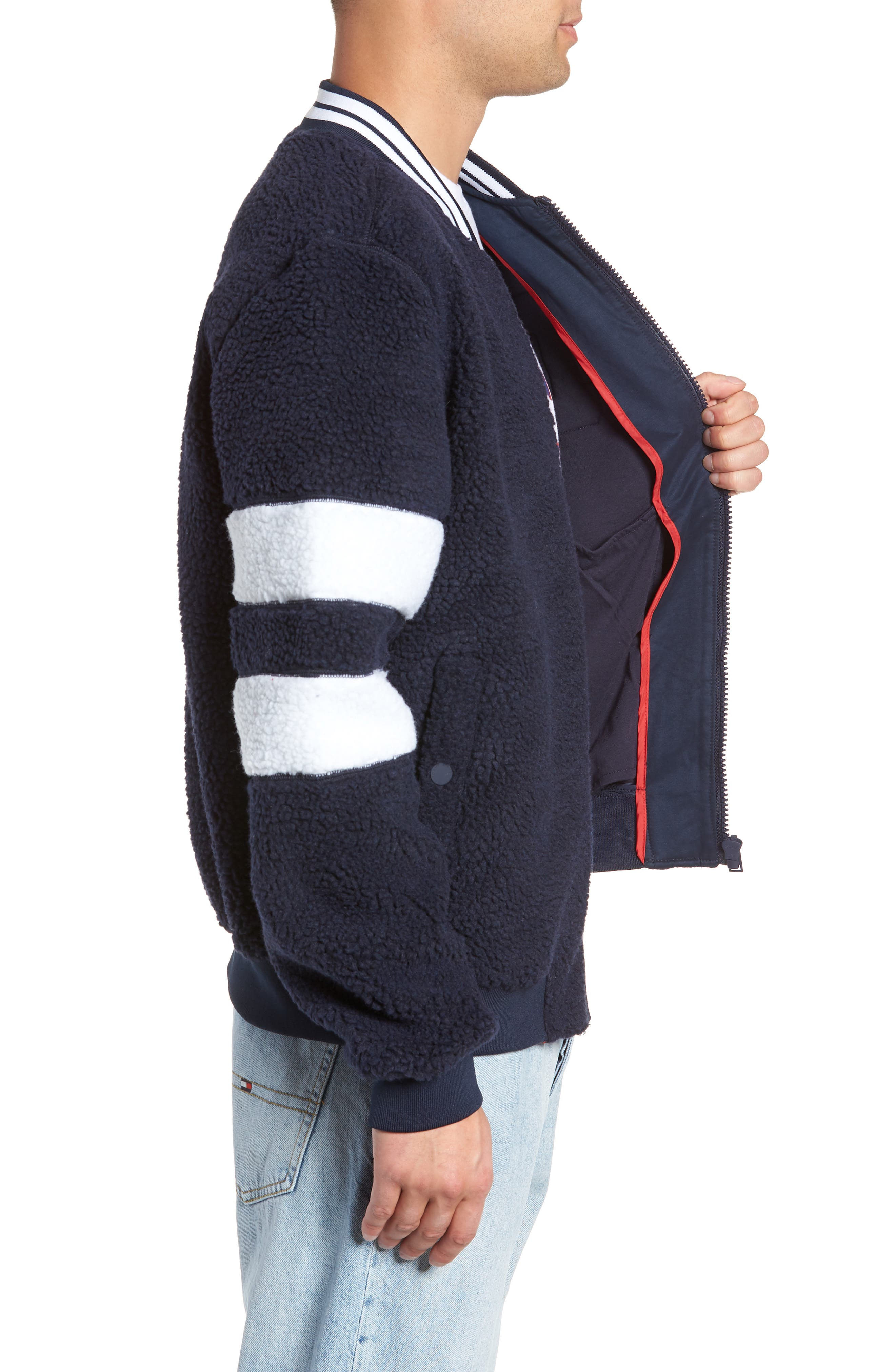 TOMMY JEANS,                             TJM Teddy Bomber Jacket,                             Alternate thumbnail 3, color,                             400