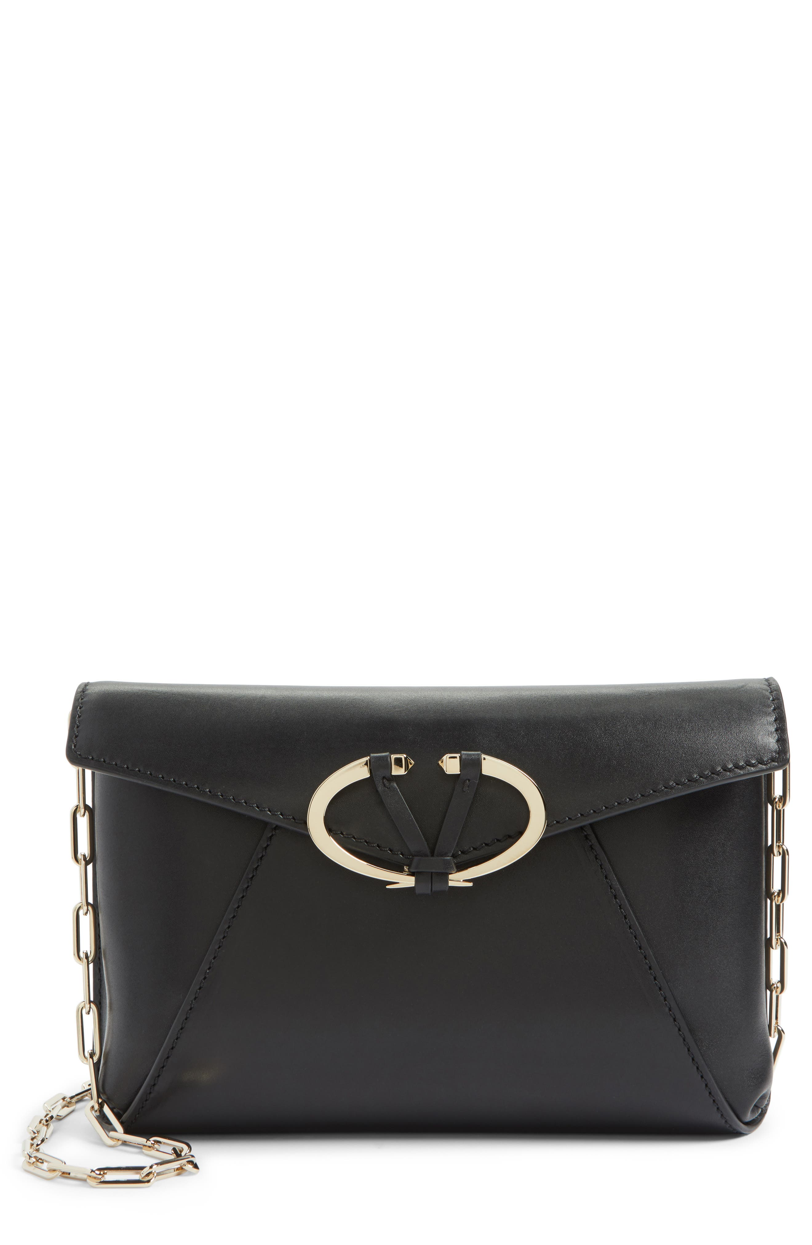 V-Clasp Calfskin Leather Envelope Clutch,                         Main,                         color,