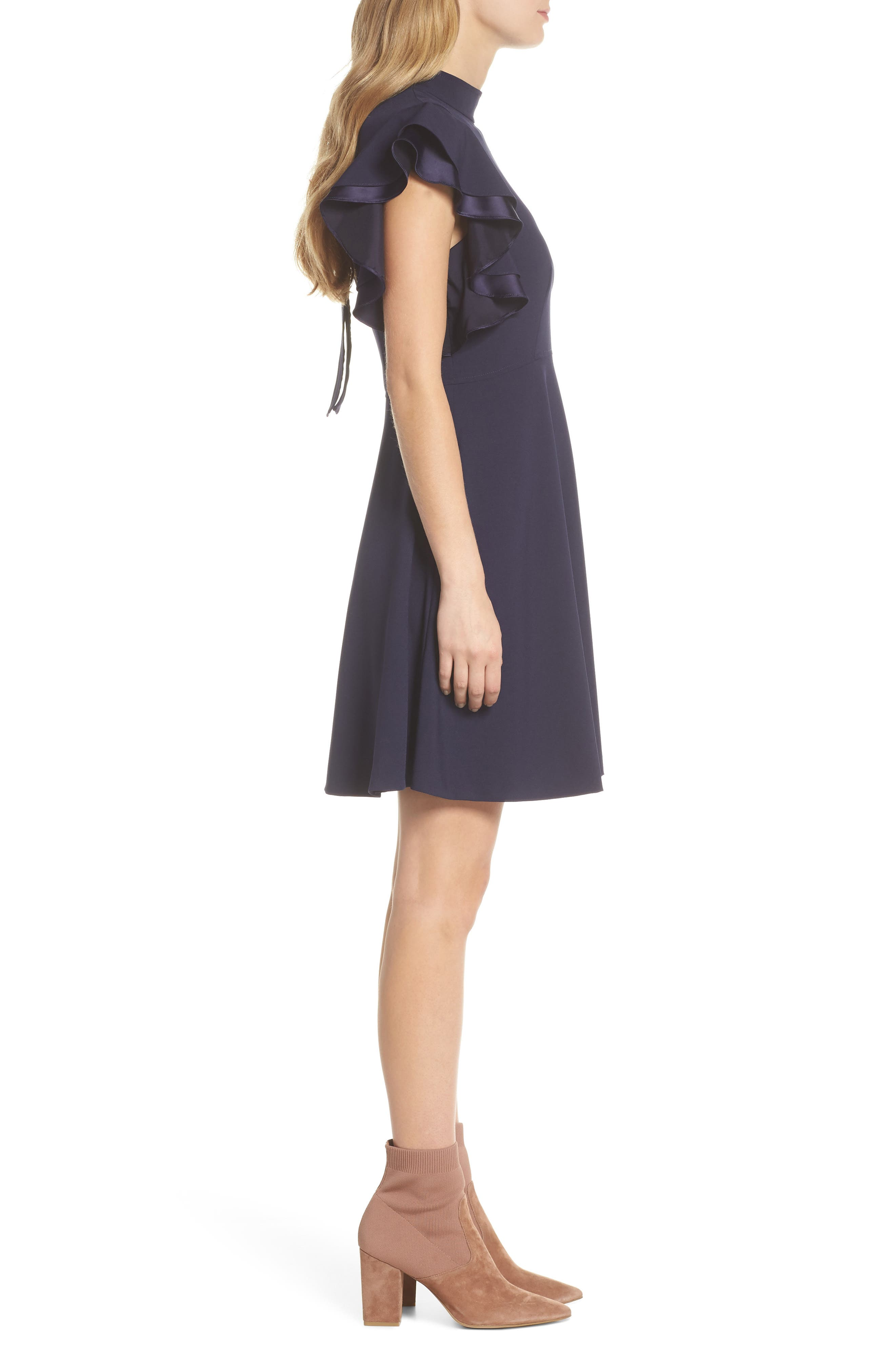 Crepe Fit & Flare Dress,                             Alternate thumbnail 3, color,                             NAVY SAPPHIRE