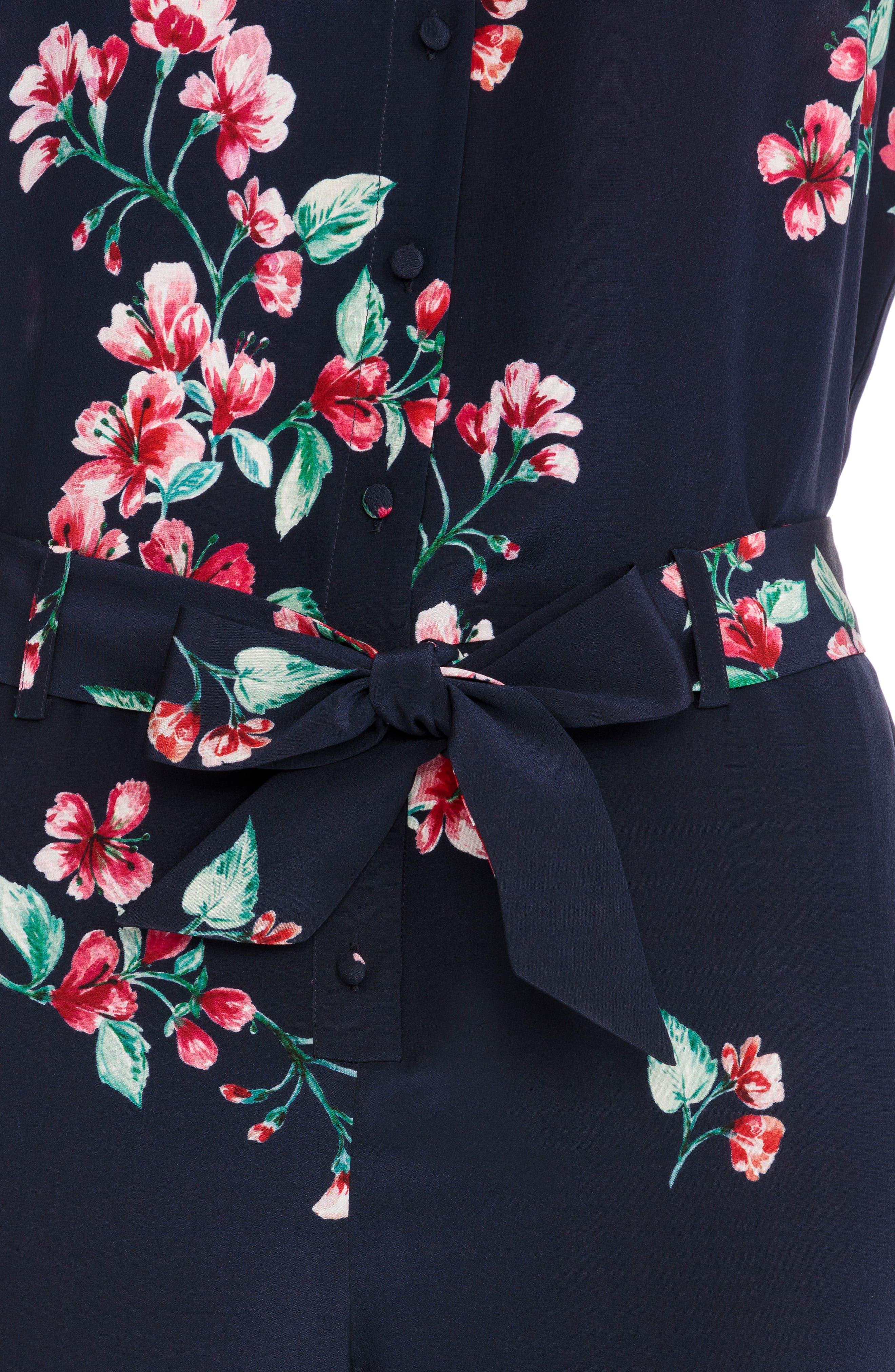 Ava Floral Silk Jumpsuit,                             Alternate thumbnail 4, color,                             400