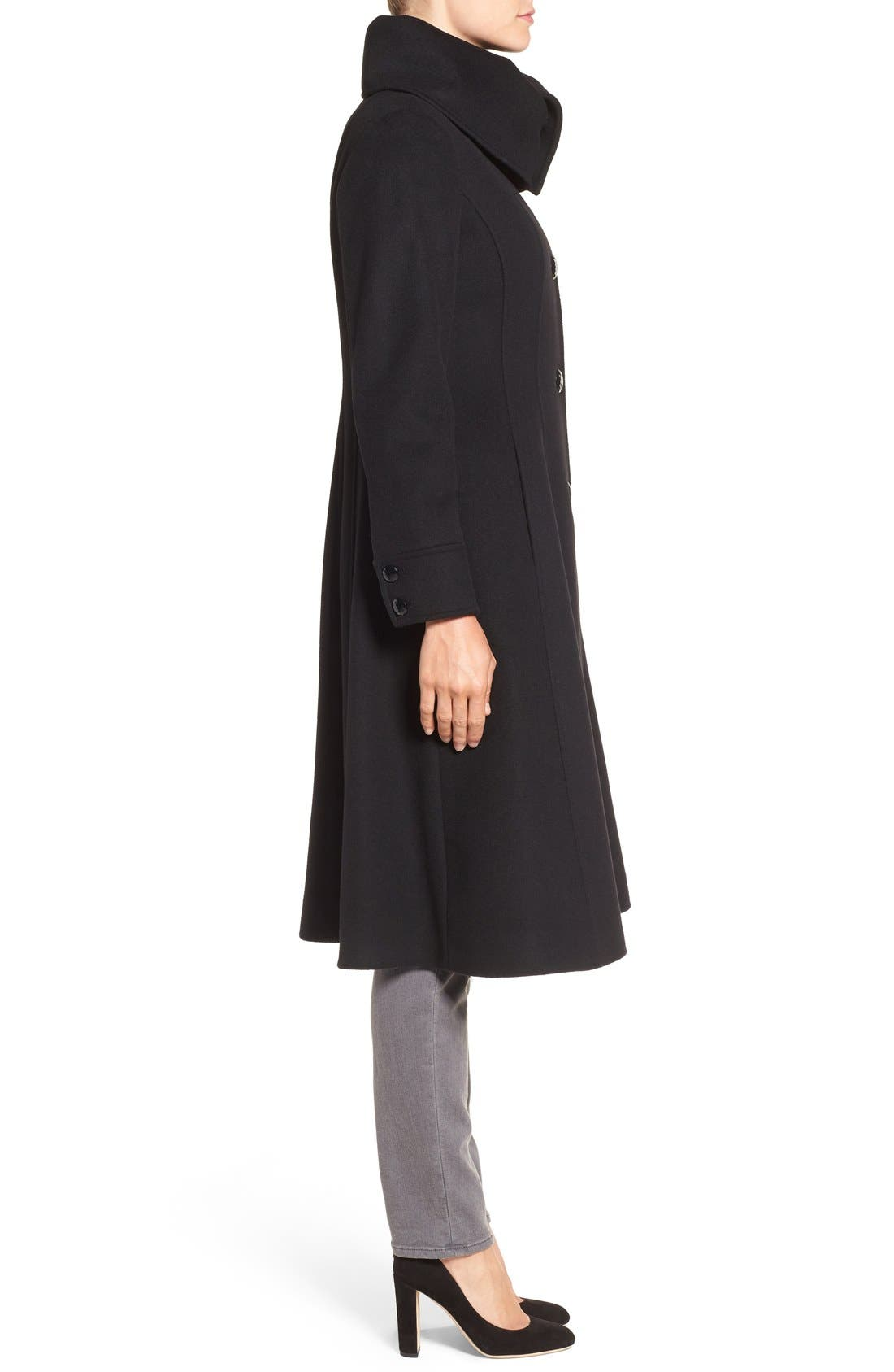 High Neck Wool Blend Long Coat,                             Alternate thumbnail 3, color,                             001