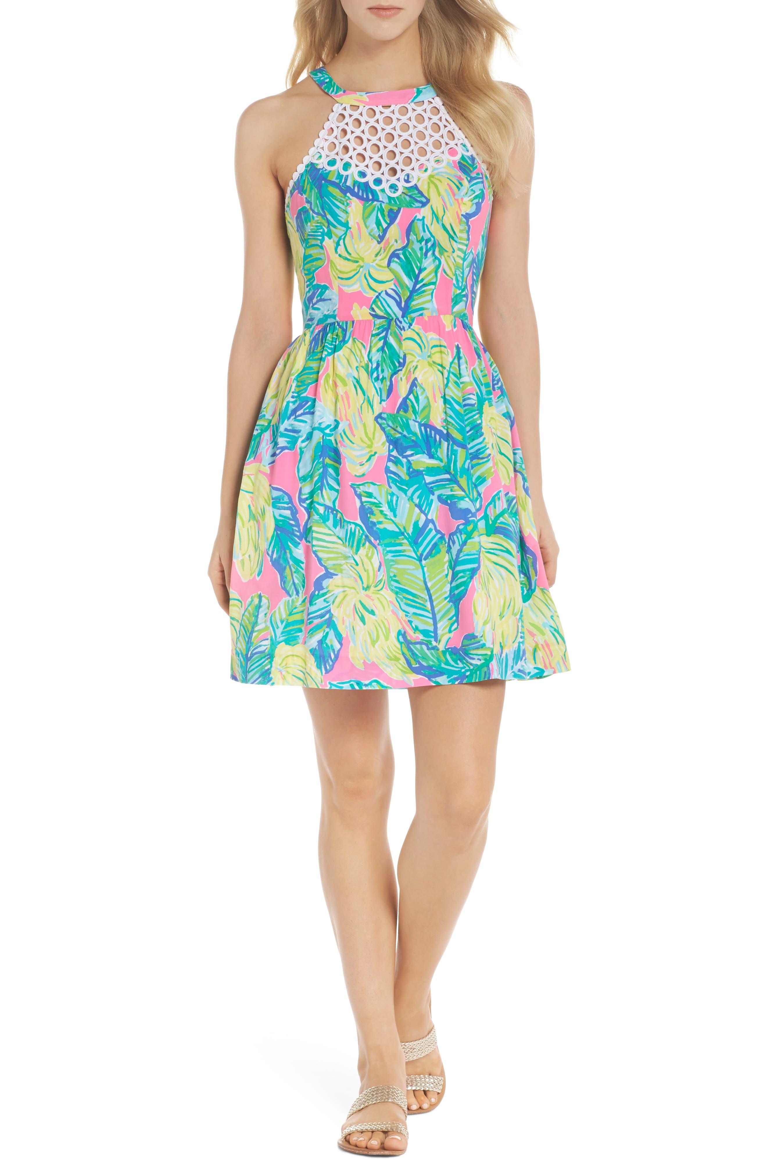 Kinley Halter Dress,                             Alternate thumbnail 5, color,                             PINK SUNSET LOCAL FLAVOR