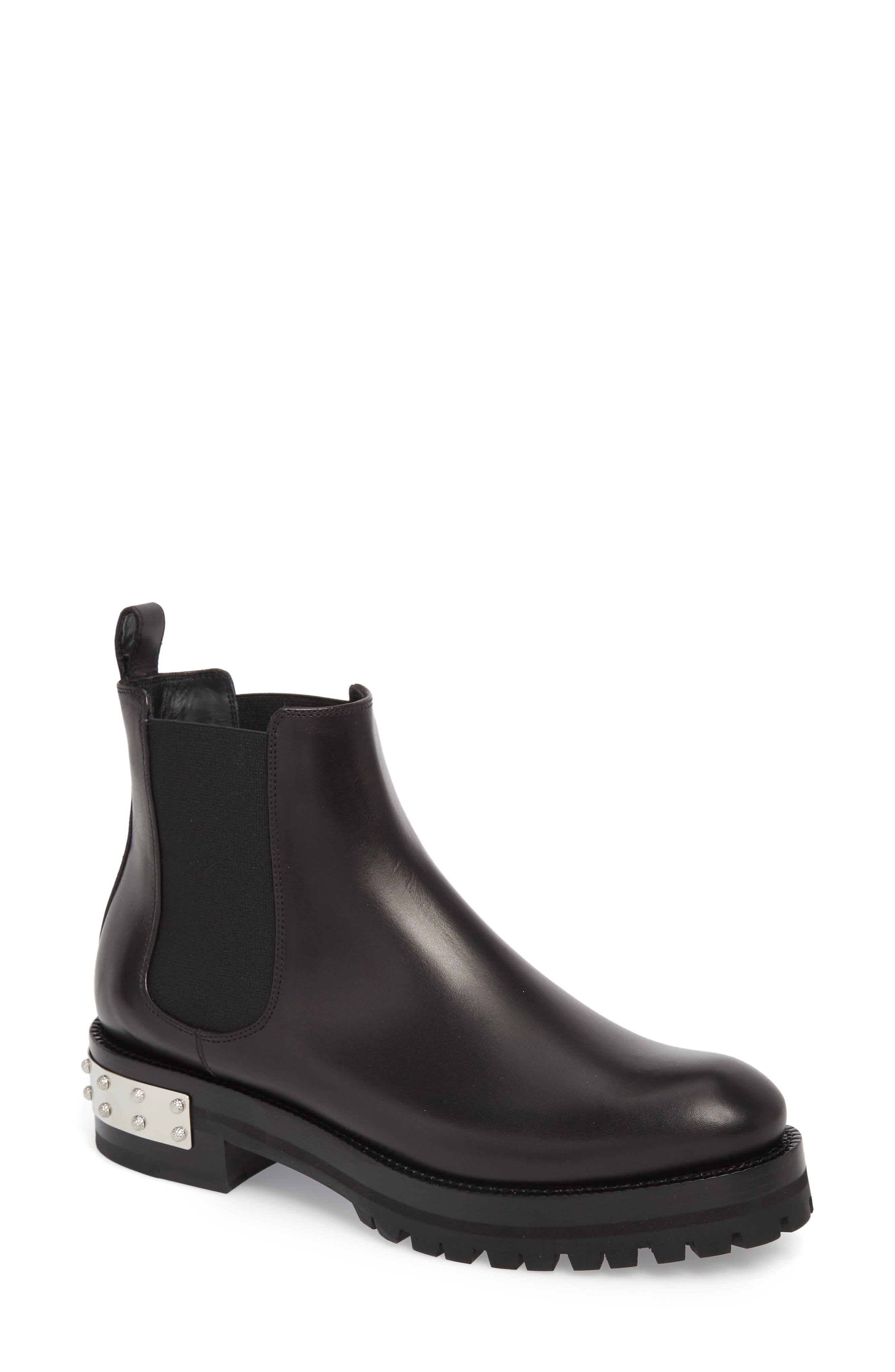 Metal Heel Slip-On Boot,                         Main,                         color, BLACK