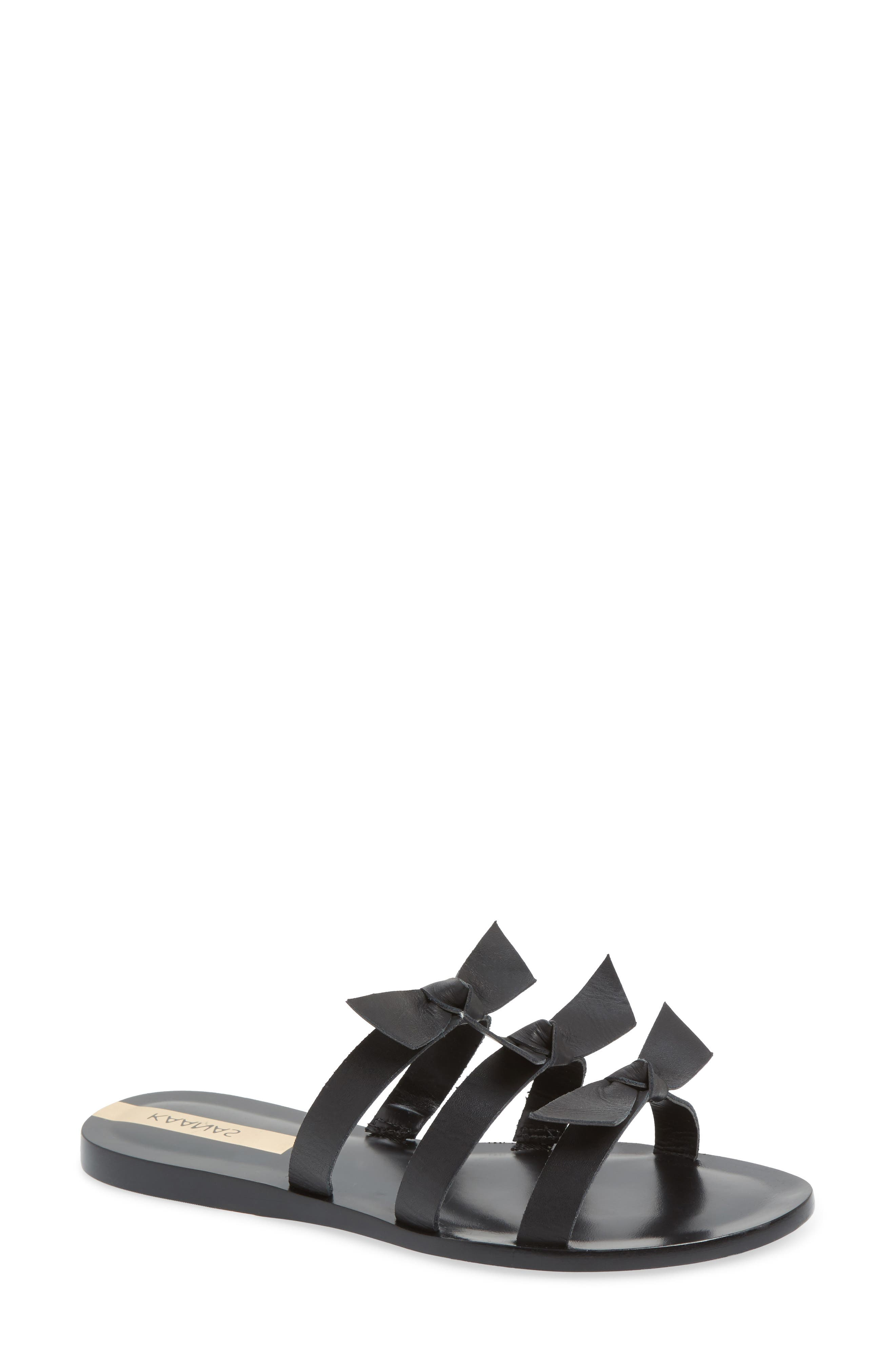 Recife Knotted Slide Sandal,                             Main thumbnail 1, color,                             BLACK