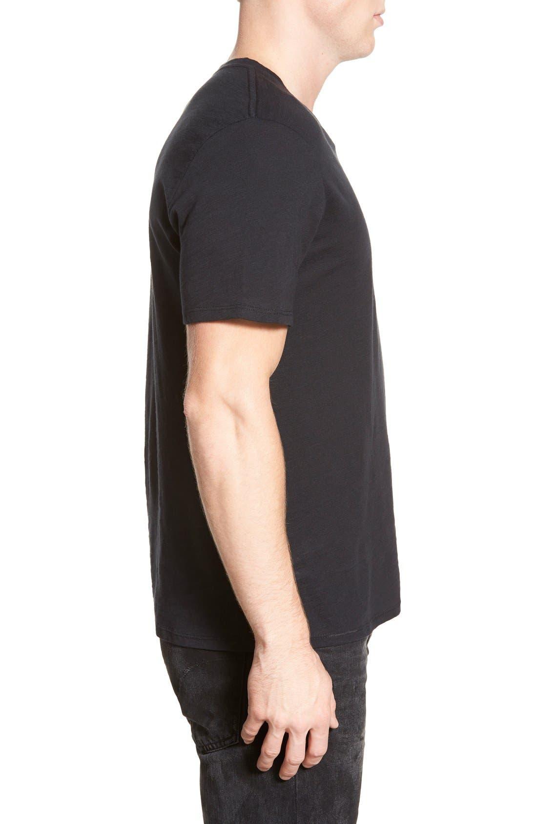 Slub Cotton V-Neck T-Shirt,                             Alternate thumbnail 2, color,                             BLACK