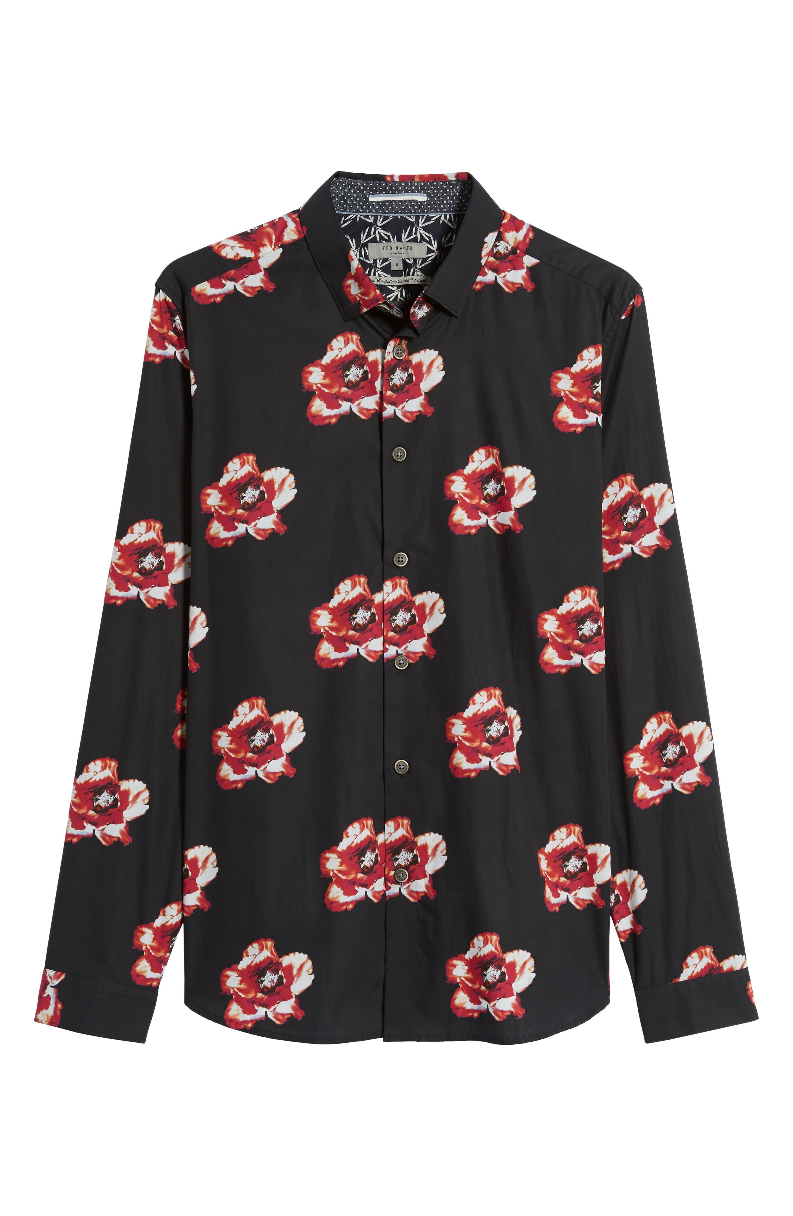 Lilky Trim Fit Floral Sport Shirt,                             Alternate thumbnail 6, color,