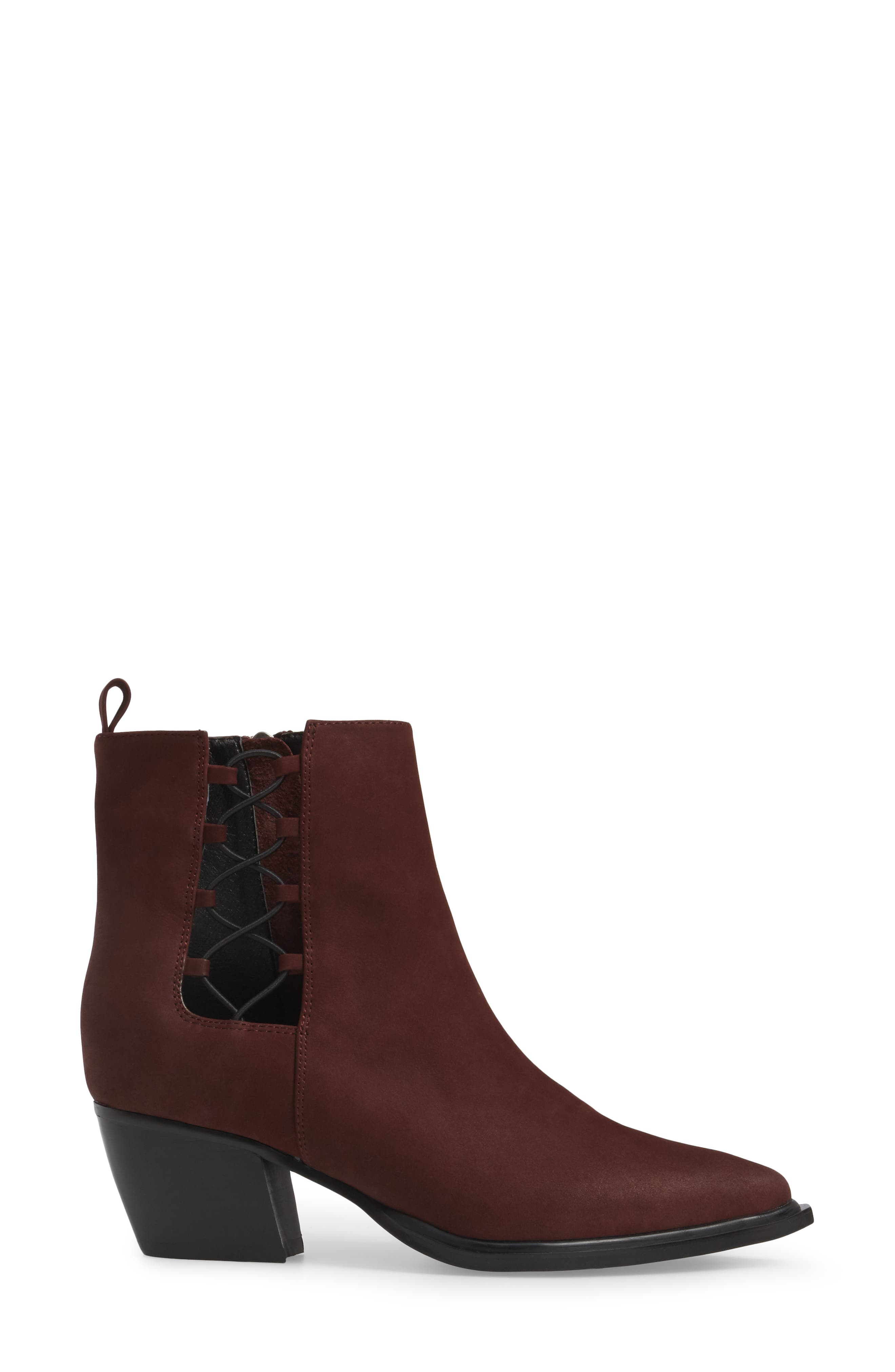 Hackney Corset Bootie,                             Alternate thumbnail 3, color,                             WINE LEATHER