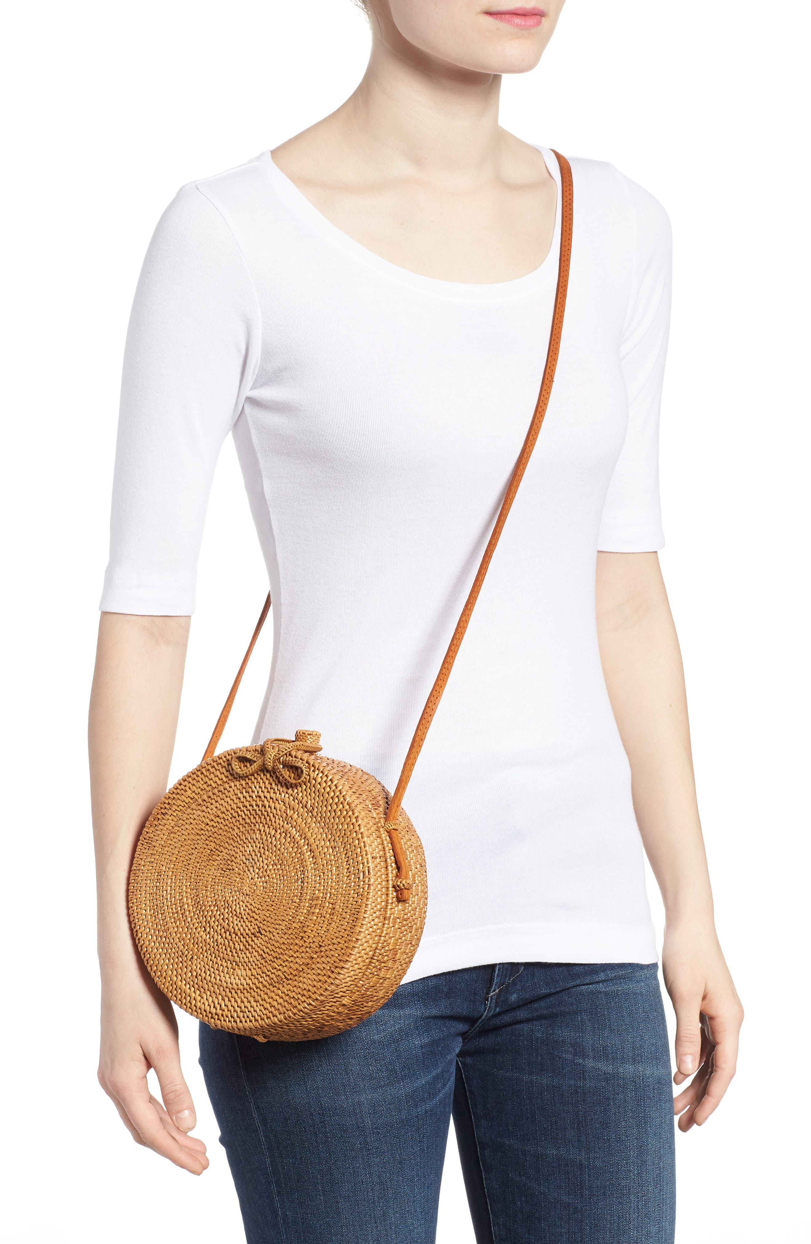 Round Rattan Crossbody Bag,                             Alternate thumbnail 2, color,                             230