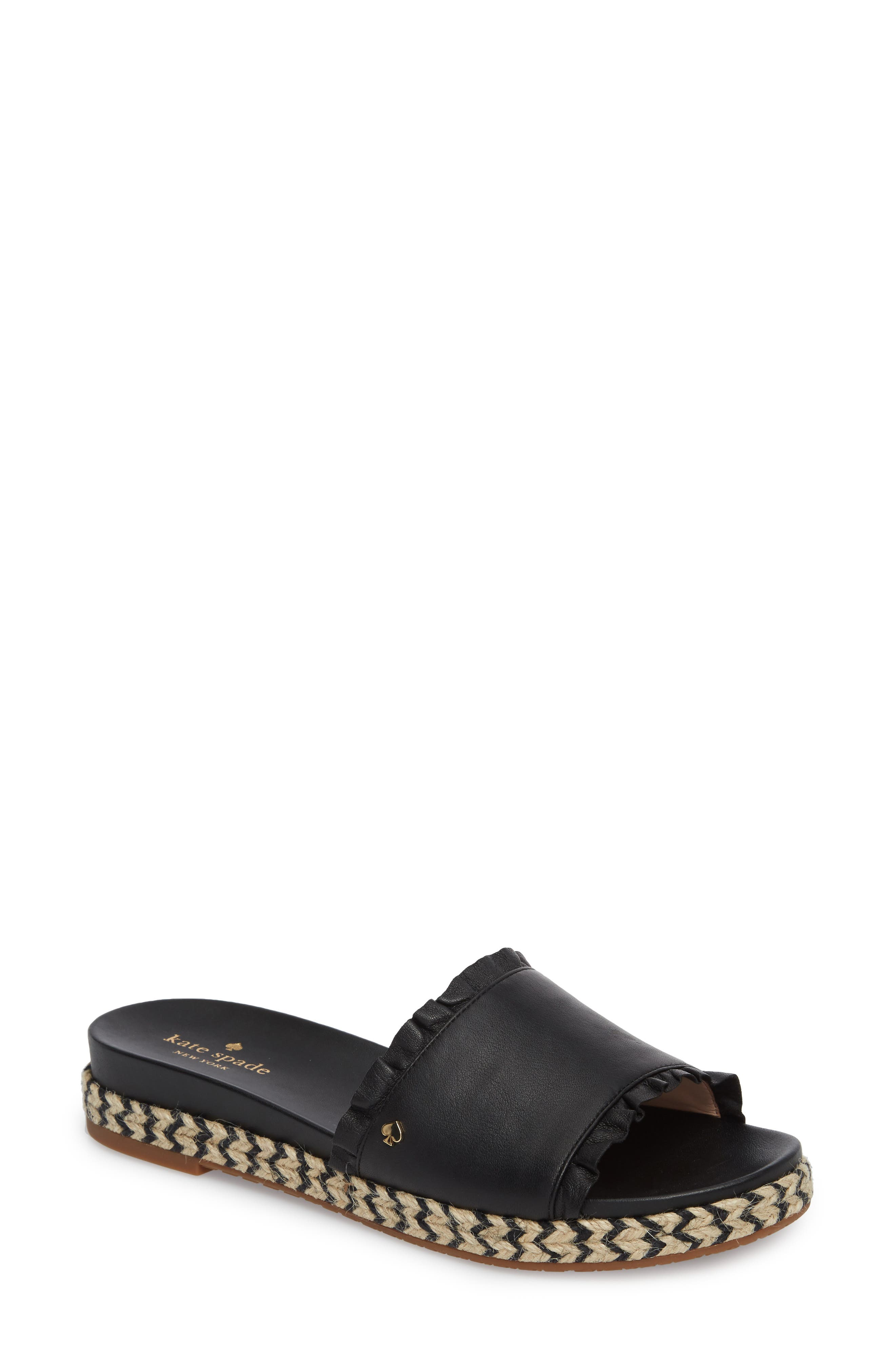 zahara slide sandal,                         Main,                         color, BLACK NAPPA