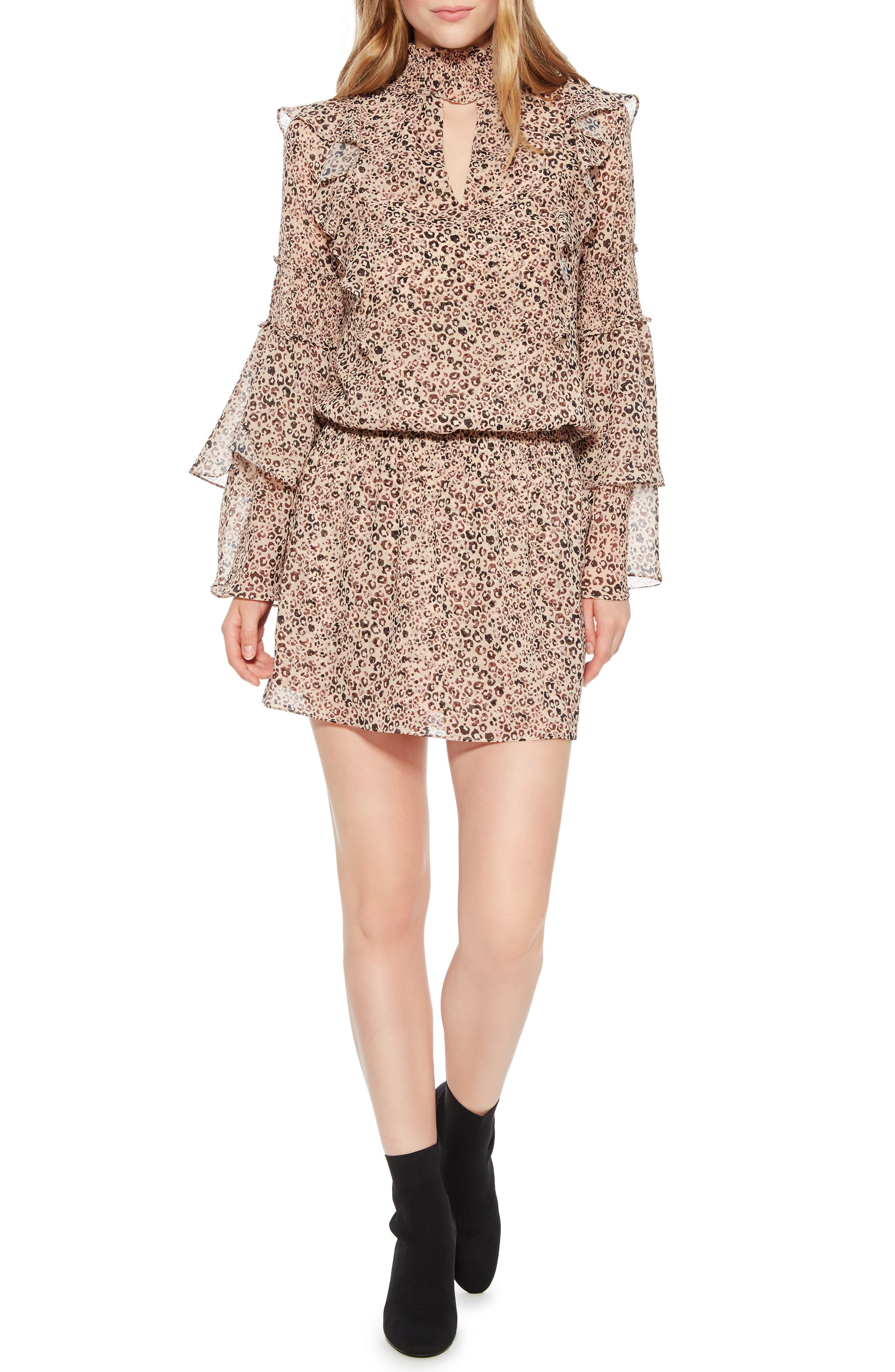 Elliana Smocked Minidress,                         Main,                         color, MINI CAMEL JUNGLE