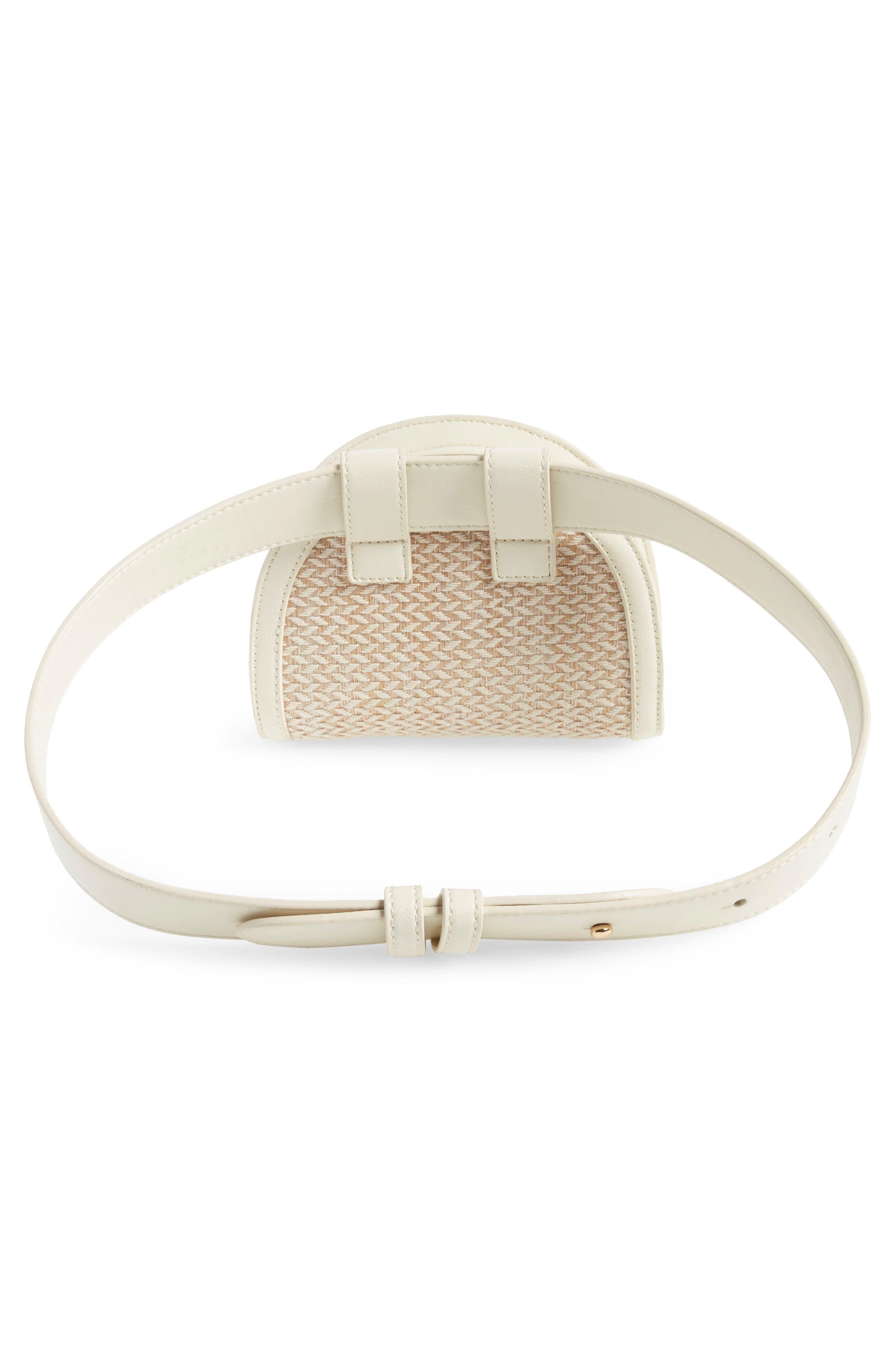 Straw & Faux Leather Belt Bag,                             Alternate thumbnail 3, color,                             250