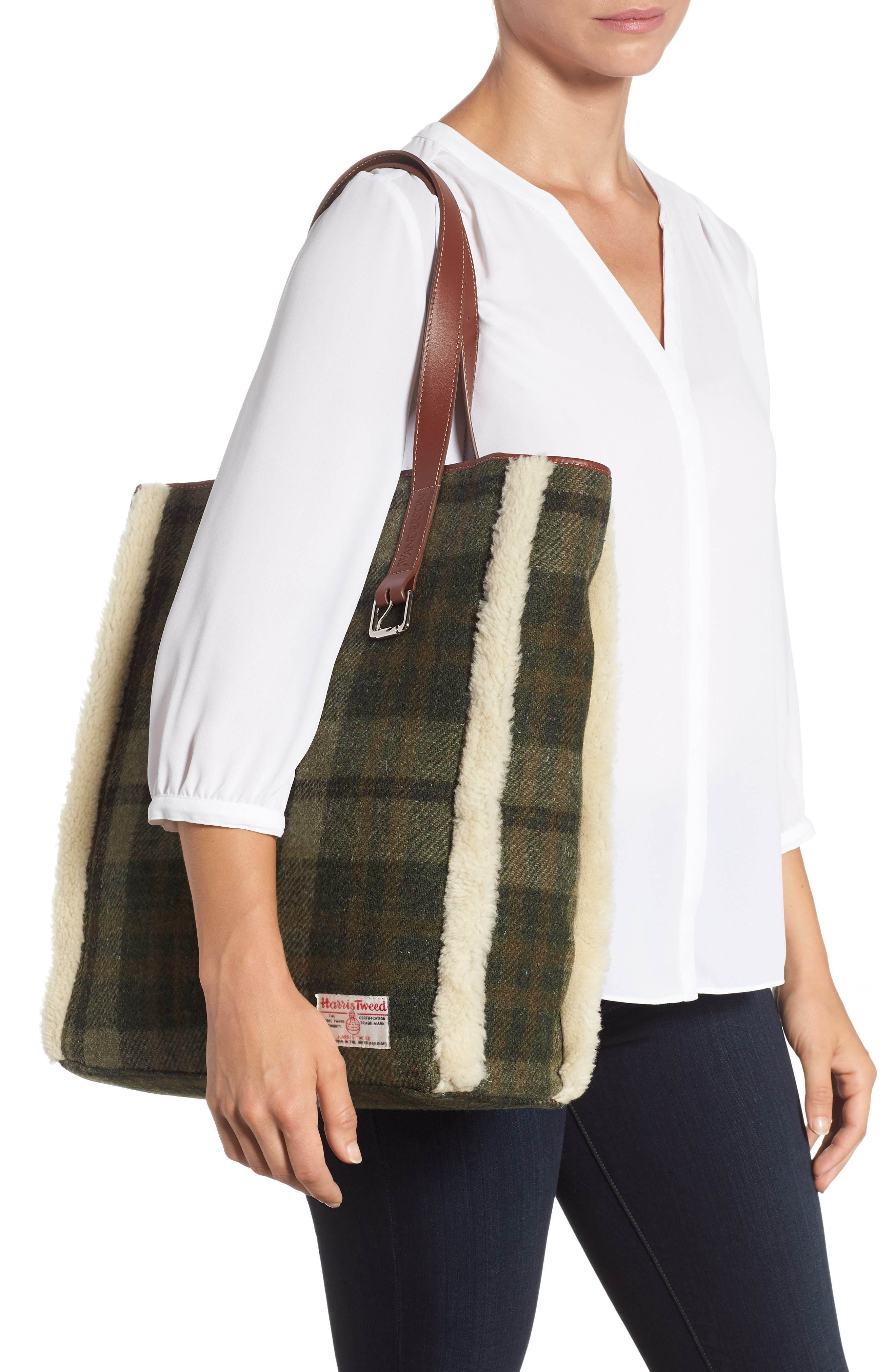 Tartan Belt Tote with Genuine Shearling Trim,                             Alternate thumbnail 2, color,                             SAFARI