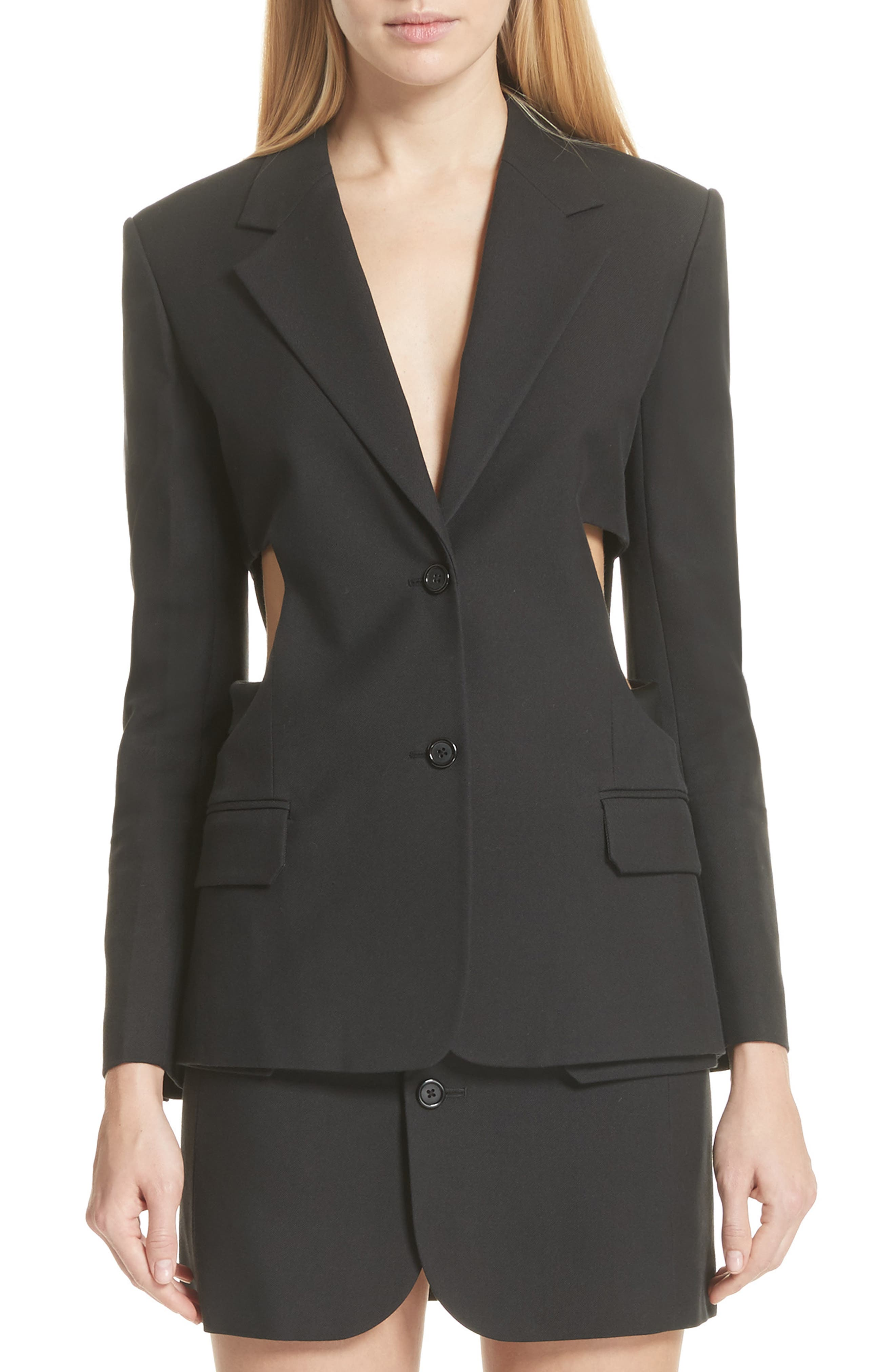 HELMUT LANG Cutout Waist Blazer, Main, color, 001