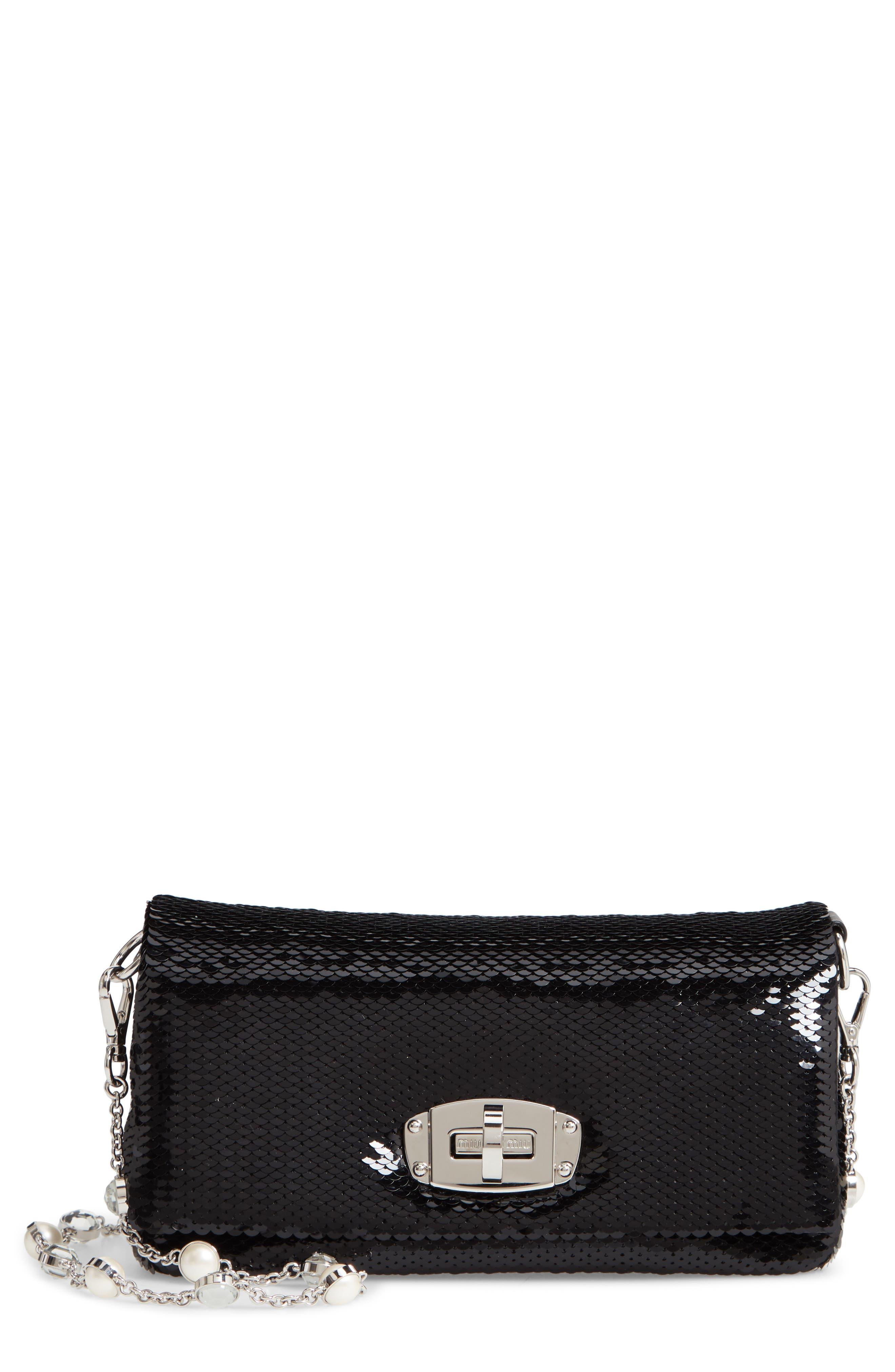 Paillettes Flap Crossbody Bag,                             Main thumbnail 1, color,                             NERO