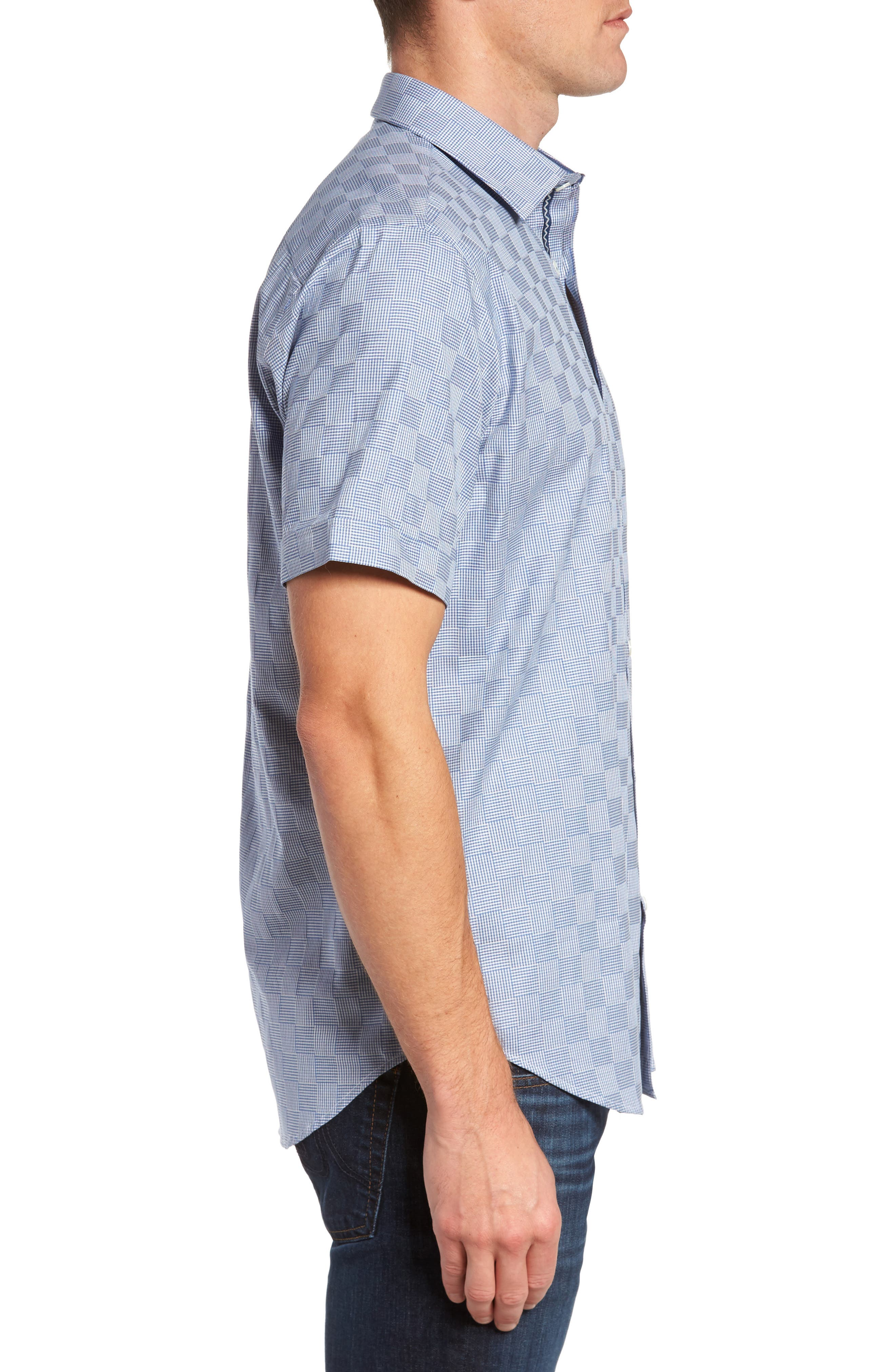 Shaped Fit Houndstooth Check Sport Shirt,                             Alternate thumbnail 3, color,                             420