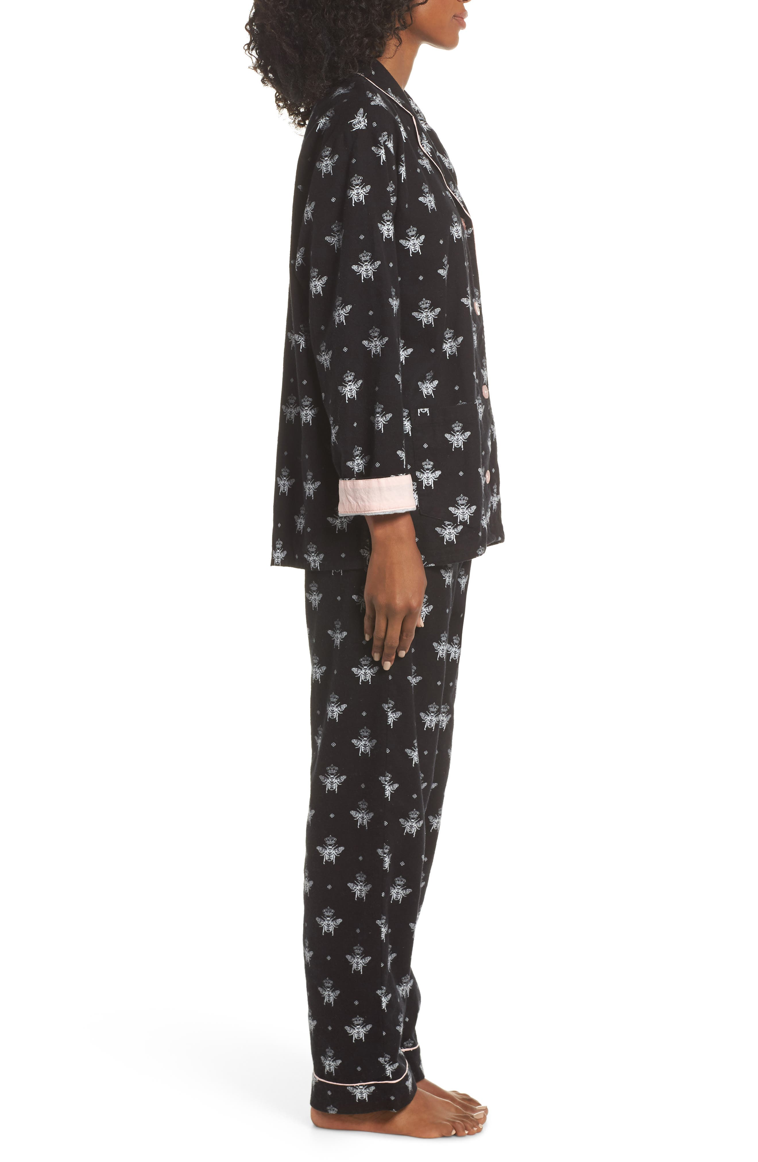 Print Flannel Pajamas,                             Alternate thumbnail 3, color,                             BLACK