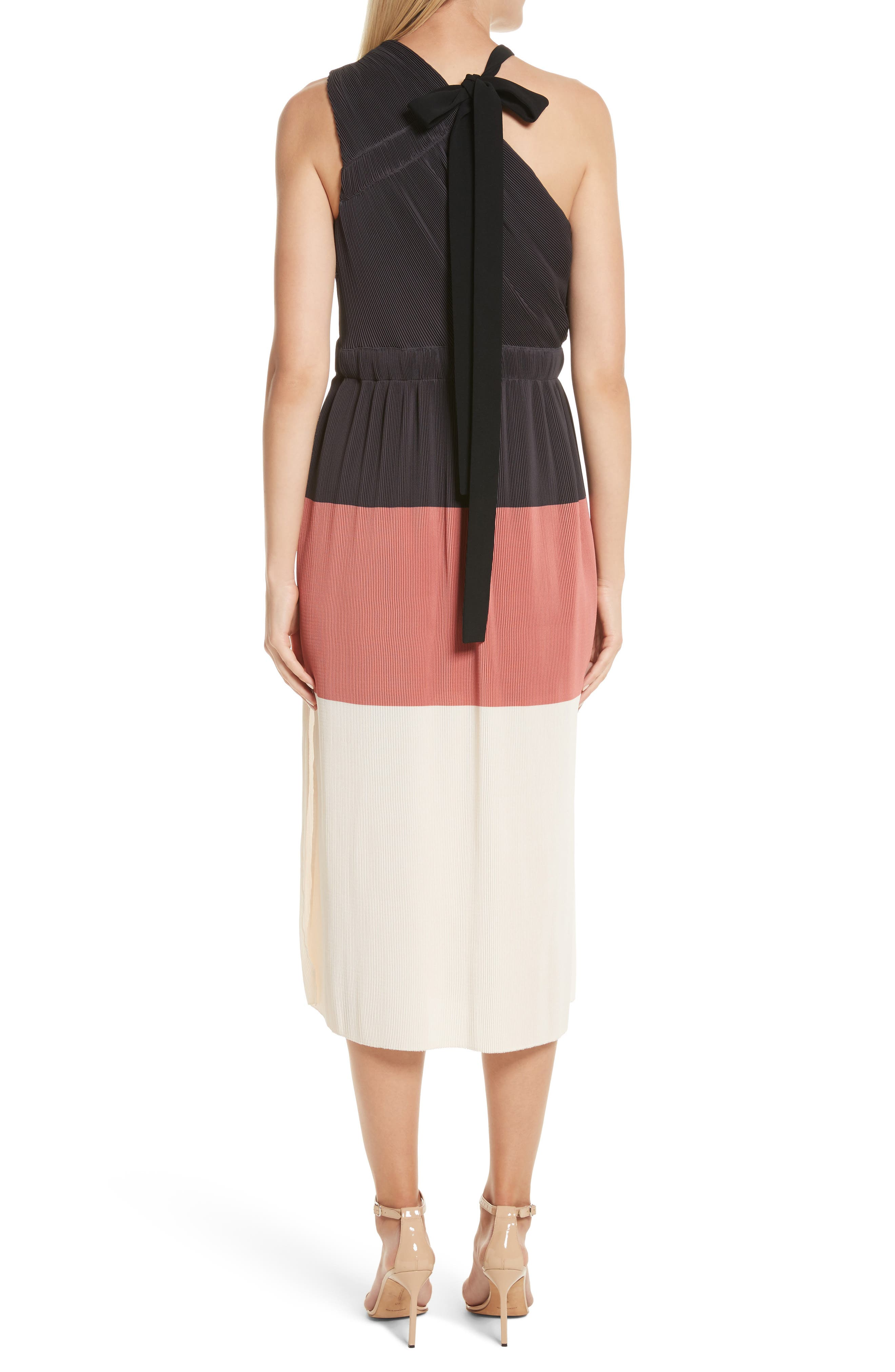 Colorblock Pleated Dress,                             Alternate thumbnail 2, color,                             007