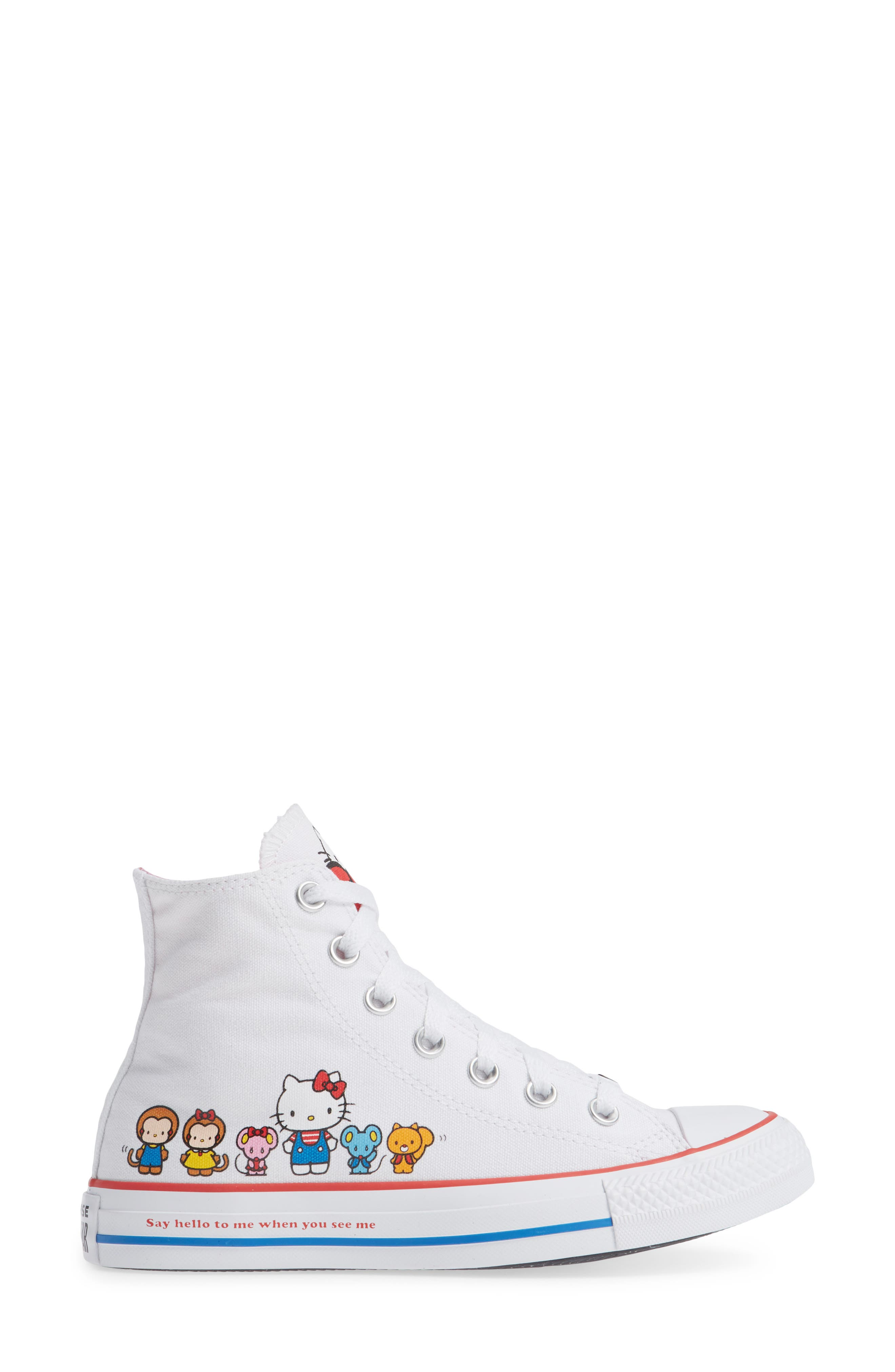 Chuck Taylor<sup>®</sup> All Star<sup>®</sup> Hello Kitty High Top Sneaker,                             Alternate thumbnail 3, color,                             102