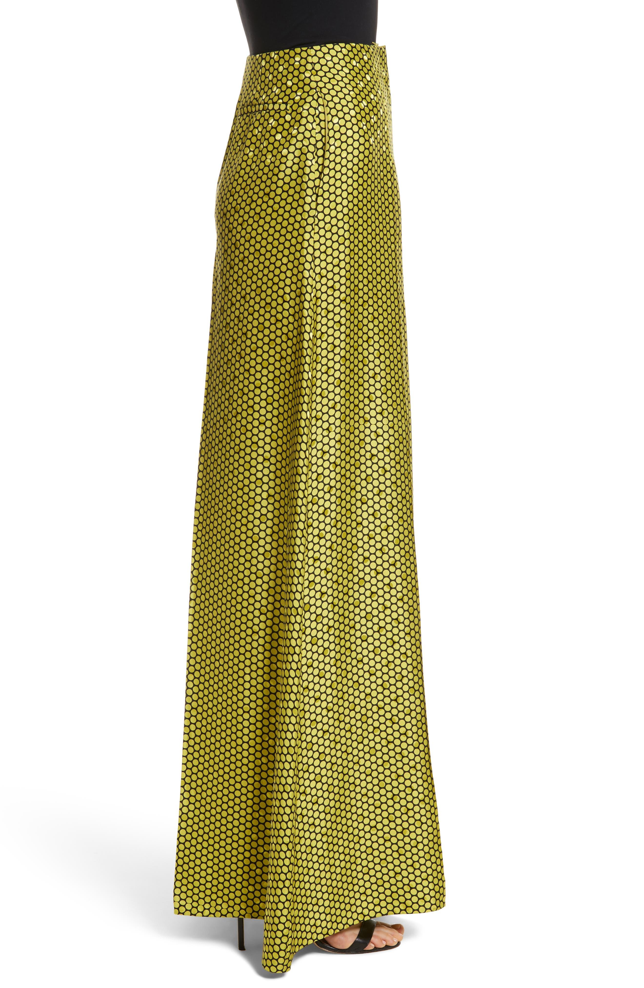 Diane von Furstenberg Dot Silk Palazzo Pants,                             Alternate thumbnail 3, color,                             390