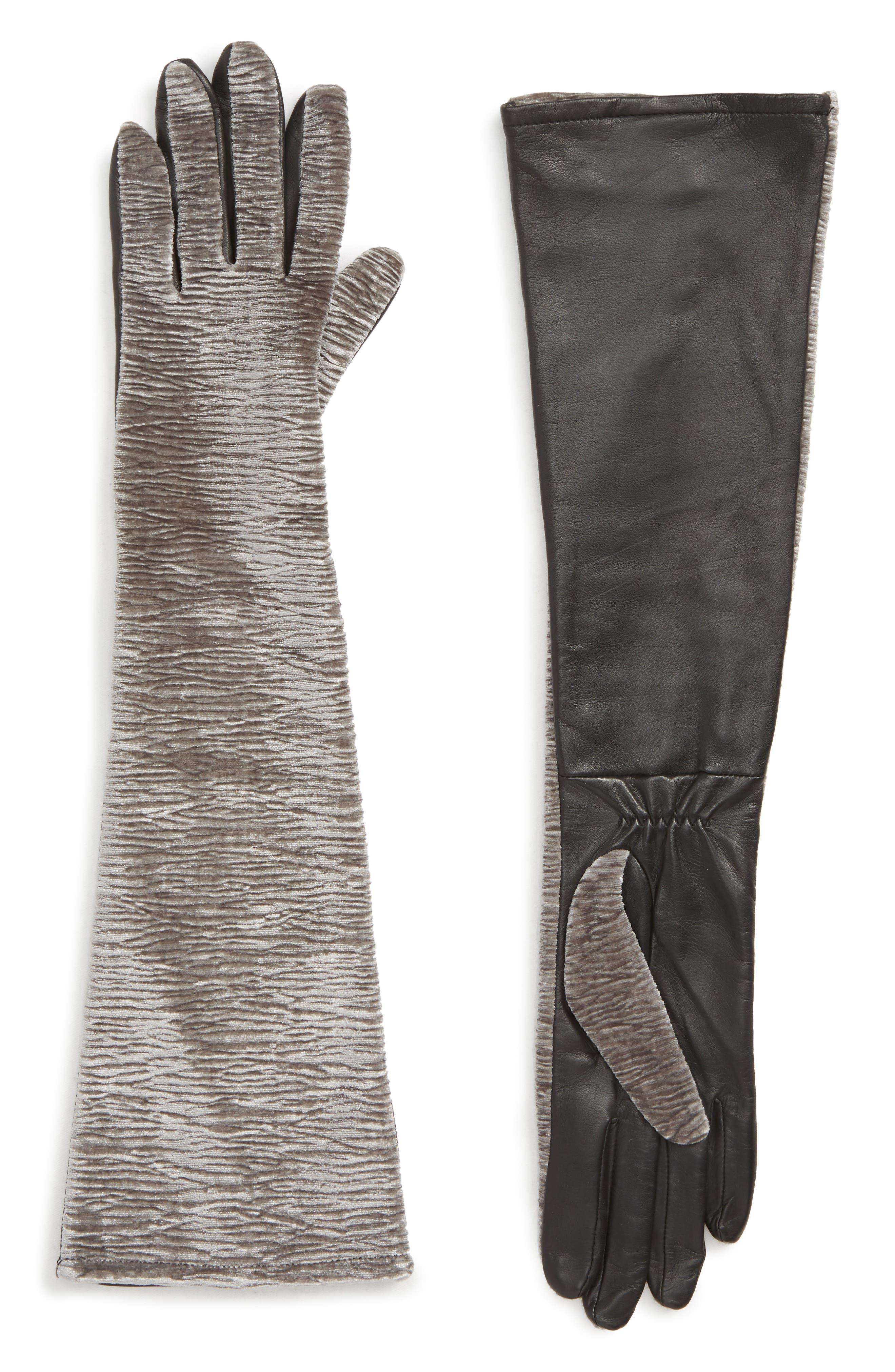 Badgley Mischka Velvet & Leather Long Gloves, Grey
