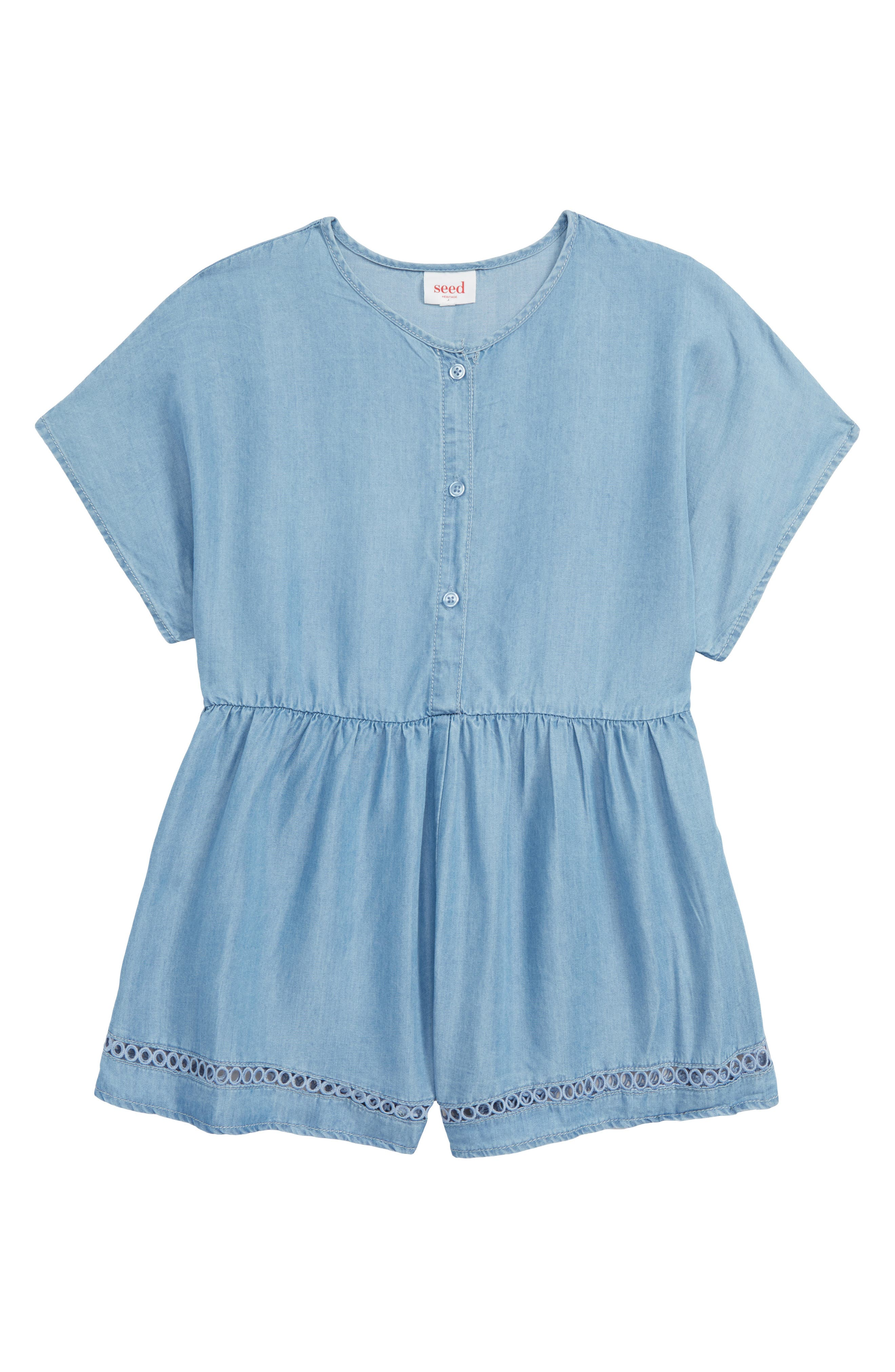 Toddler Girls Seed Heritage Denim Romper Size 3  Blue