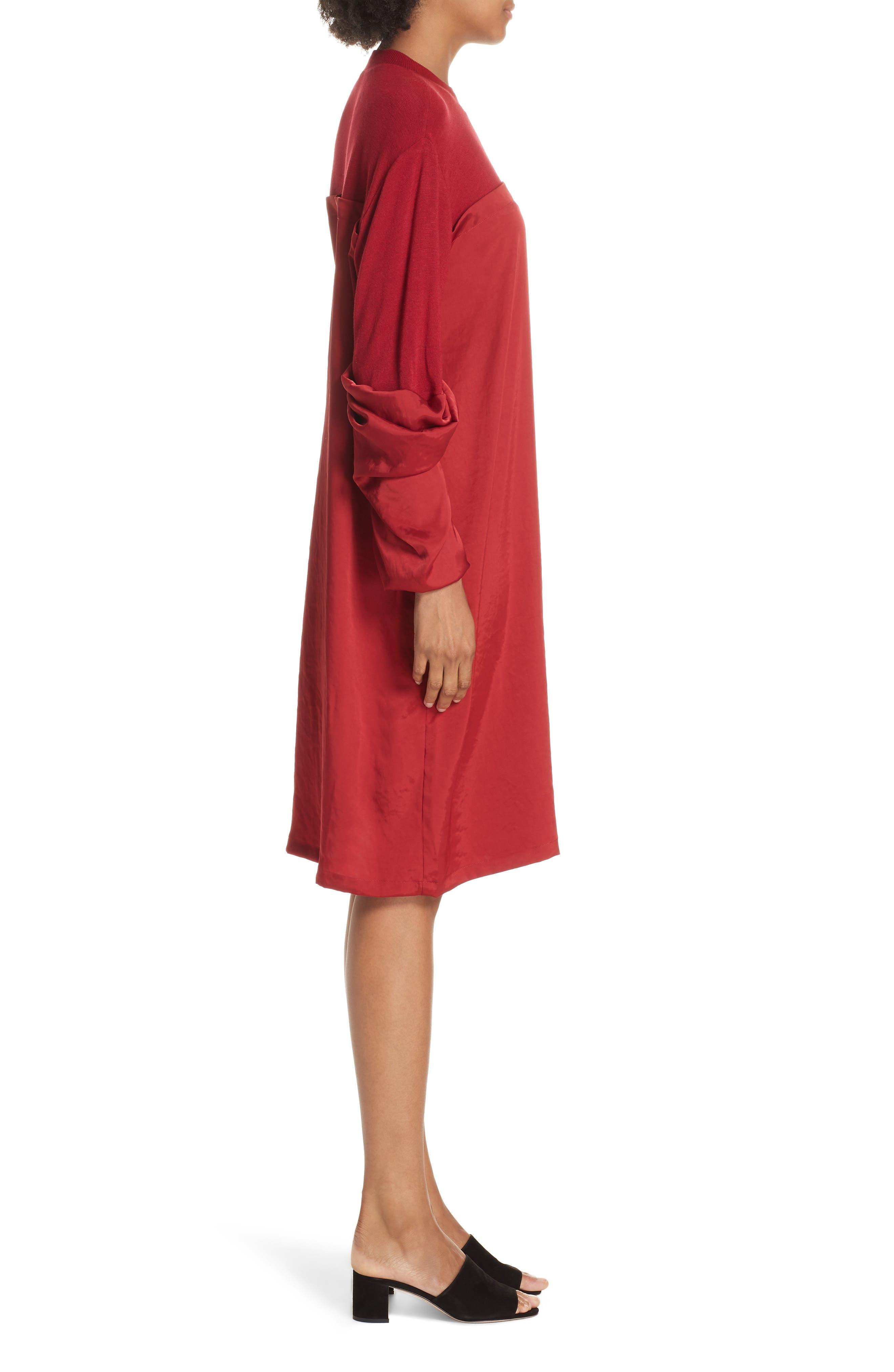 Mixed Media Shift Dress,                             Alternate thumbnail 3, color,                             RED