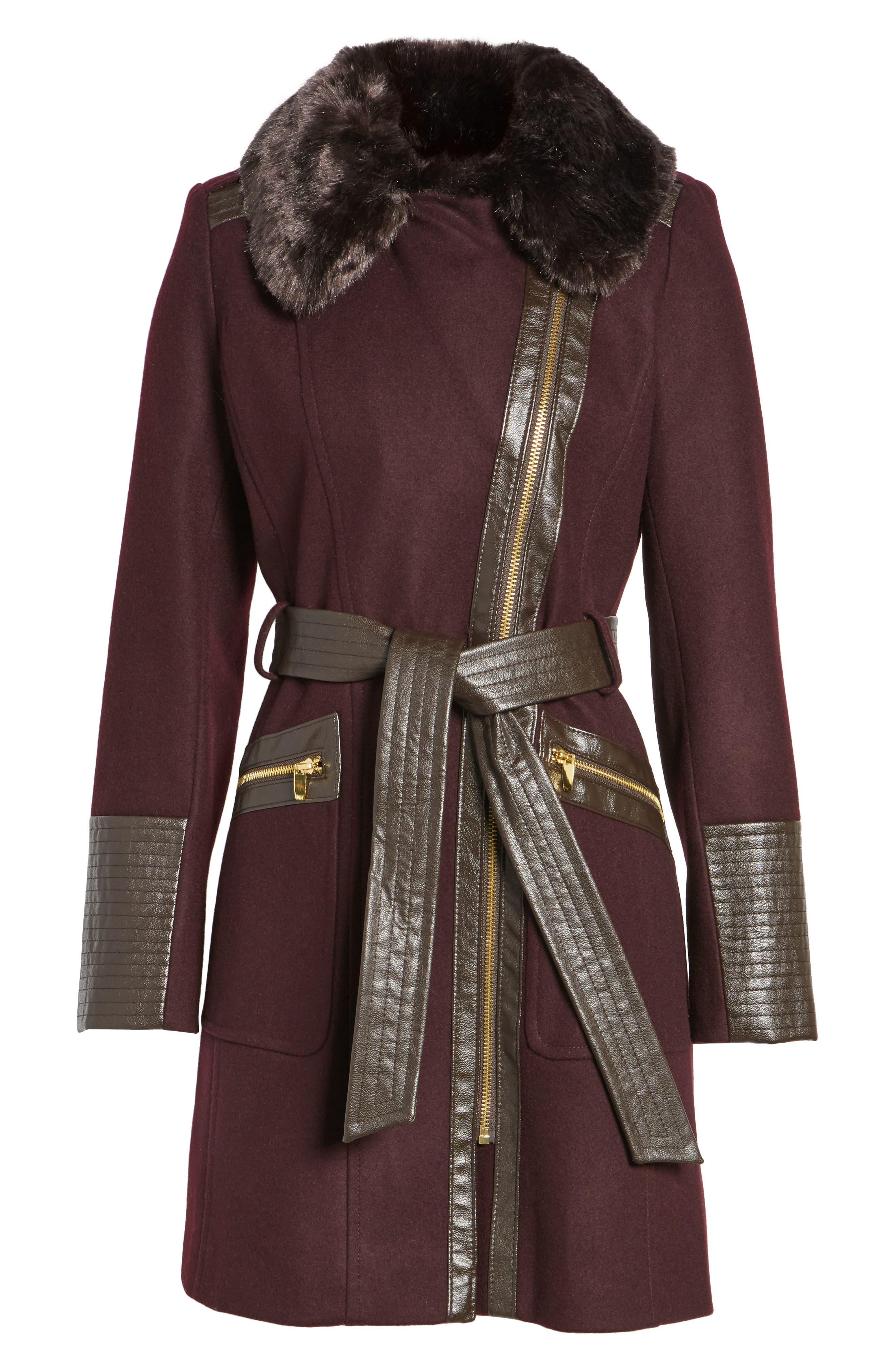 Faux Leather & Faux Fur Trim Belted Wool Blend Coat,                             Alternate thumbnail 34, color,