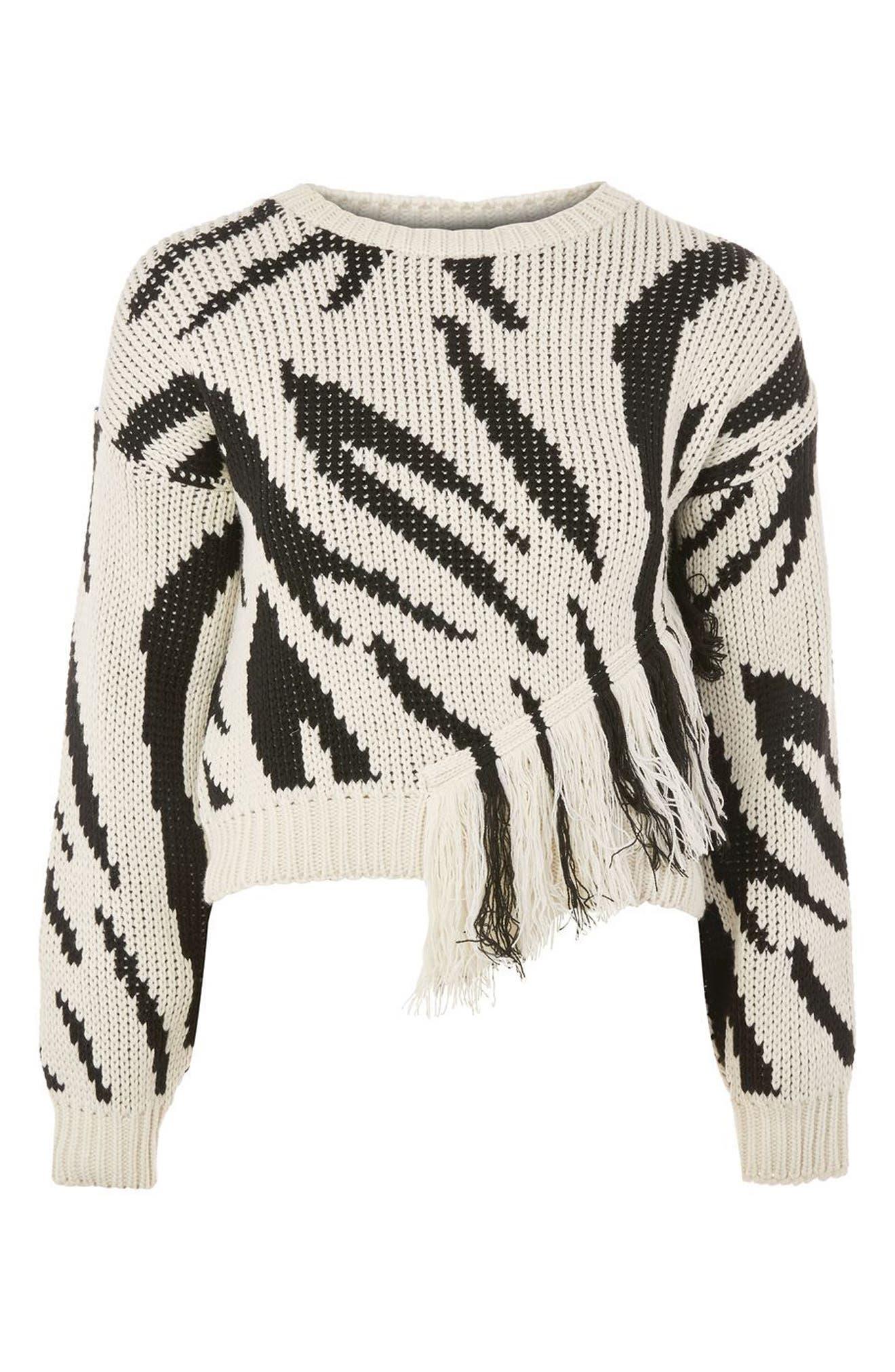 Fringe Zebra Print Sweater,                             Alternate thumbnail 3, color,                             001