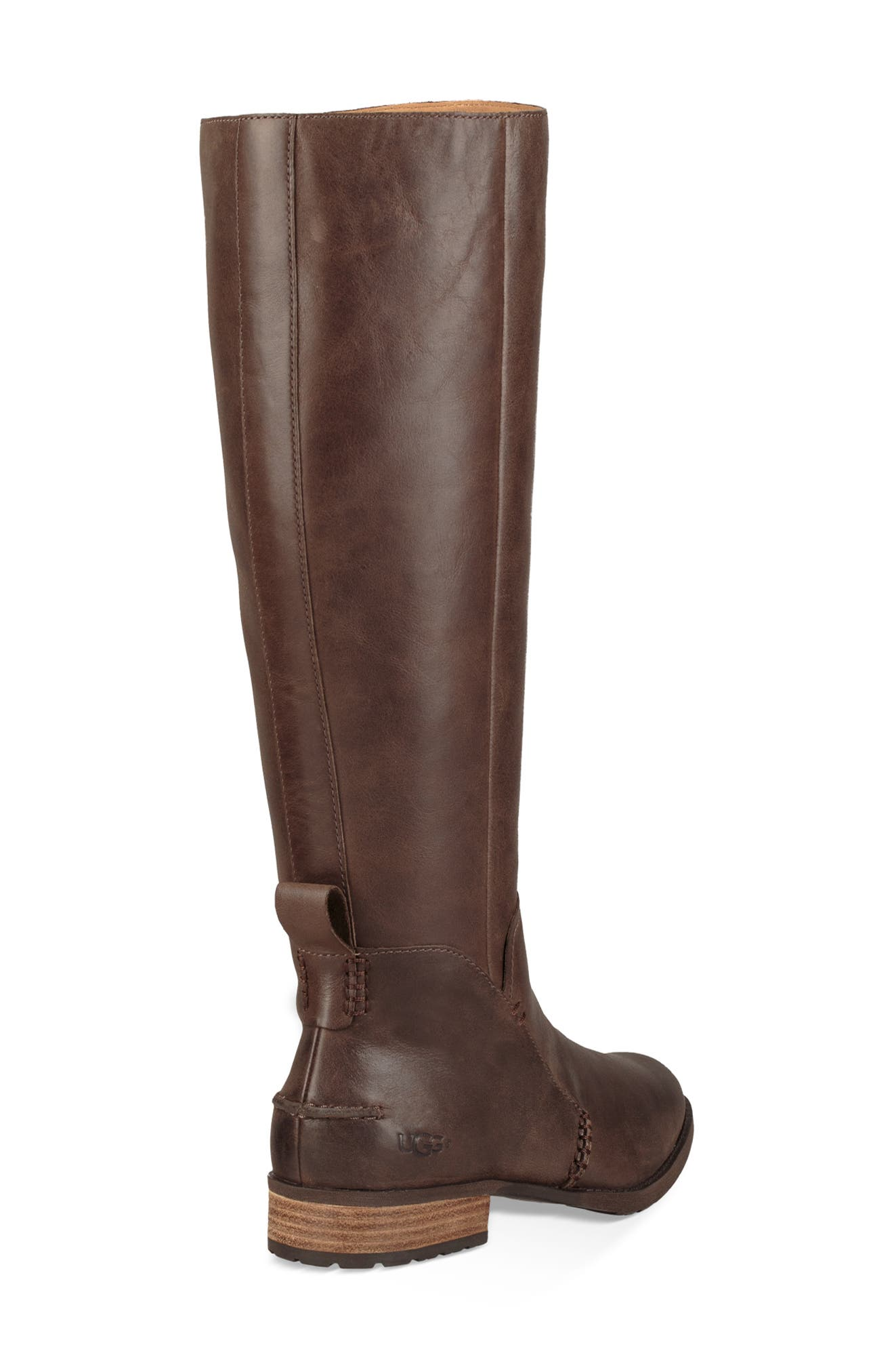 Leigh Knee High Riding Boot,                             Alternate thumbnail 2, color,                             DARK BROWN LEATHER
