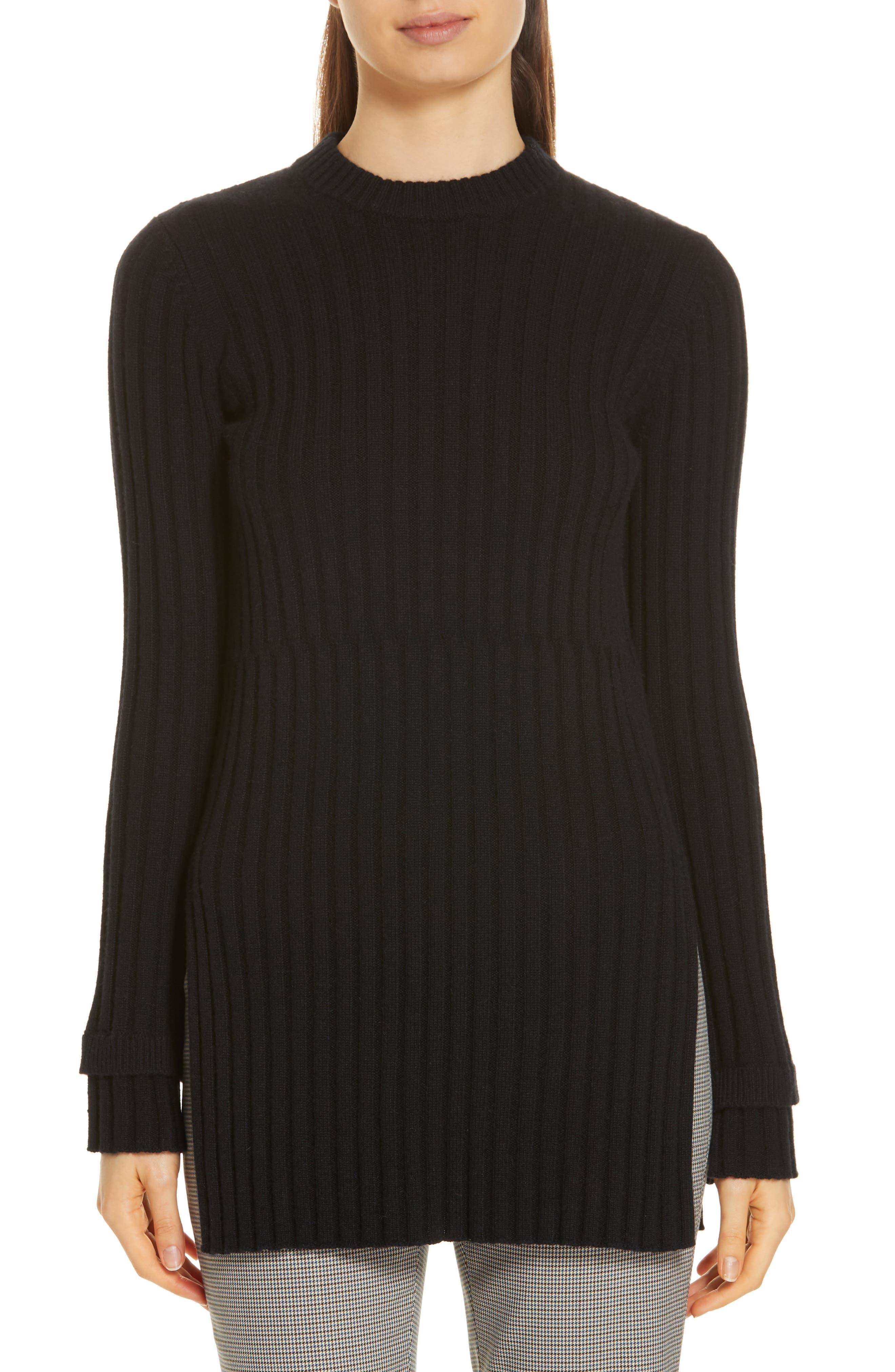 Rib Knit Cashmere Tunic,                             Main thumbnail 1, color,                             BLACK