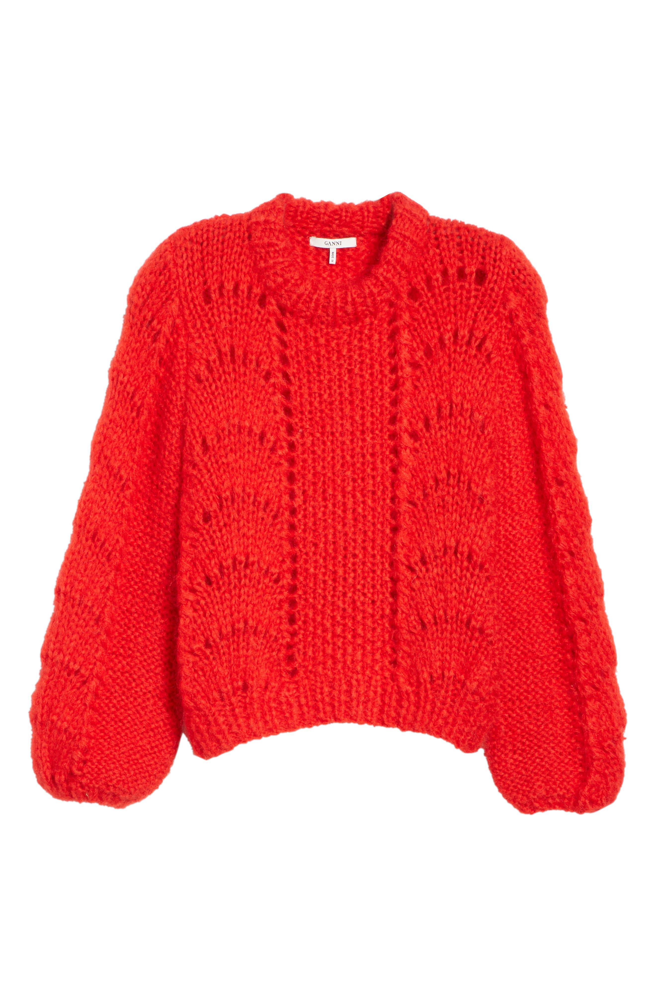 GANNI,                             Mohair & Wool Sweater,                             Alternate thumbnail 6, color,                             FIERY RED 403