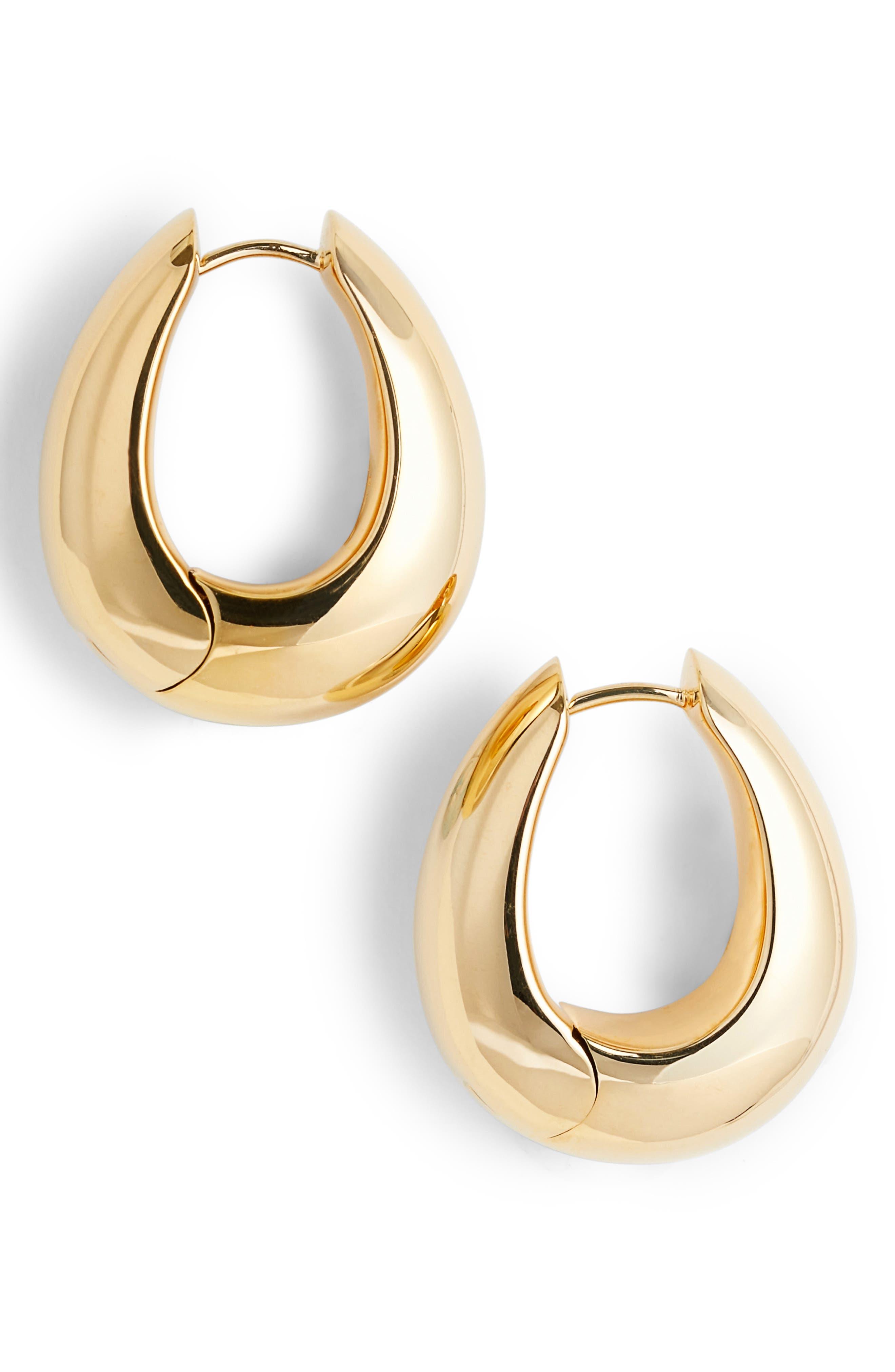 Large Ice Hoop Earrings,                         Main,                         color, 925 SILVER/9K GOLD