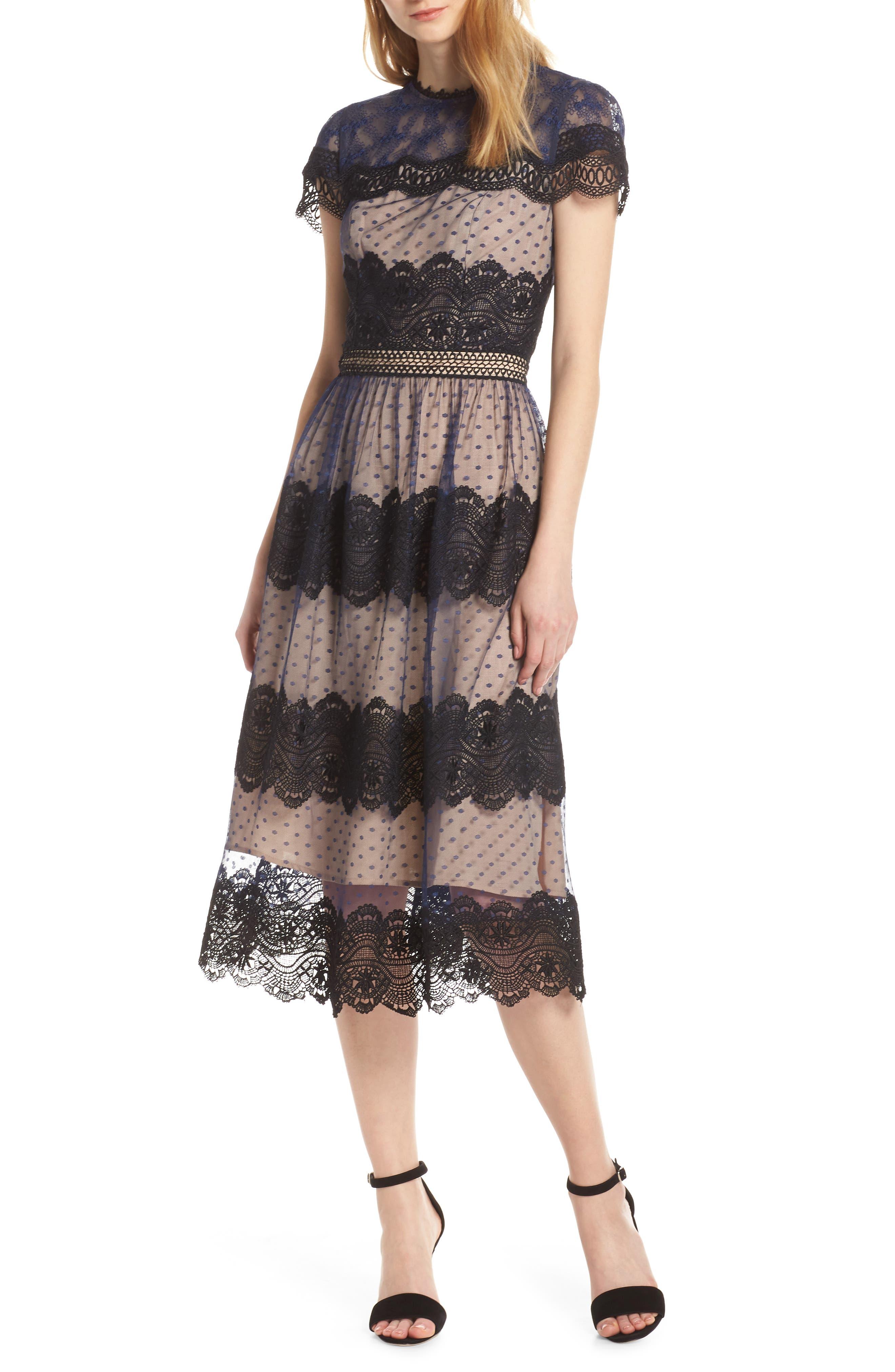 Chelsea28 Mixed Lace Midi Dress, Black