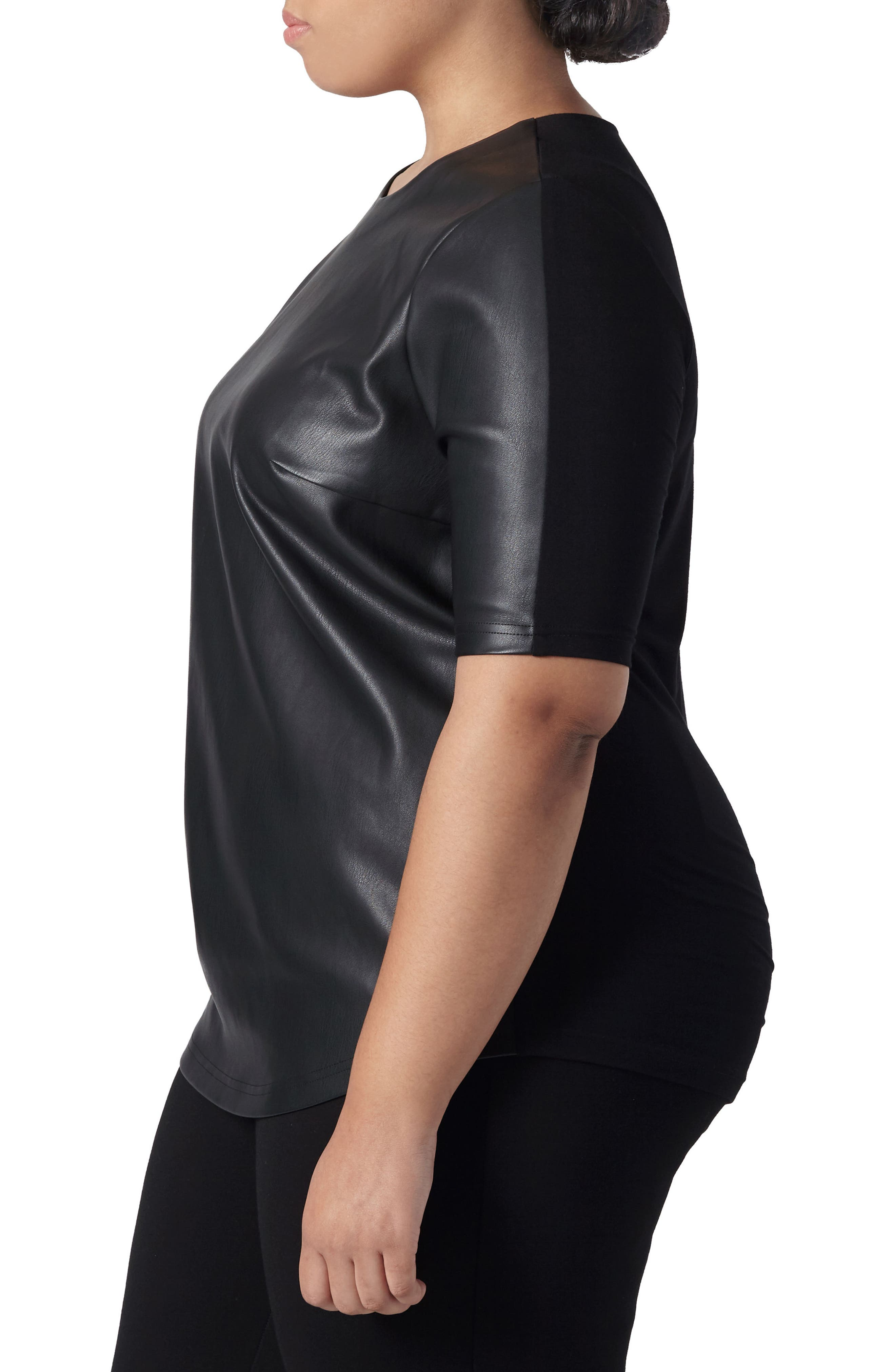 Piave Faux Leather Top,                             Alternate thumbnail 3, color,
