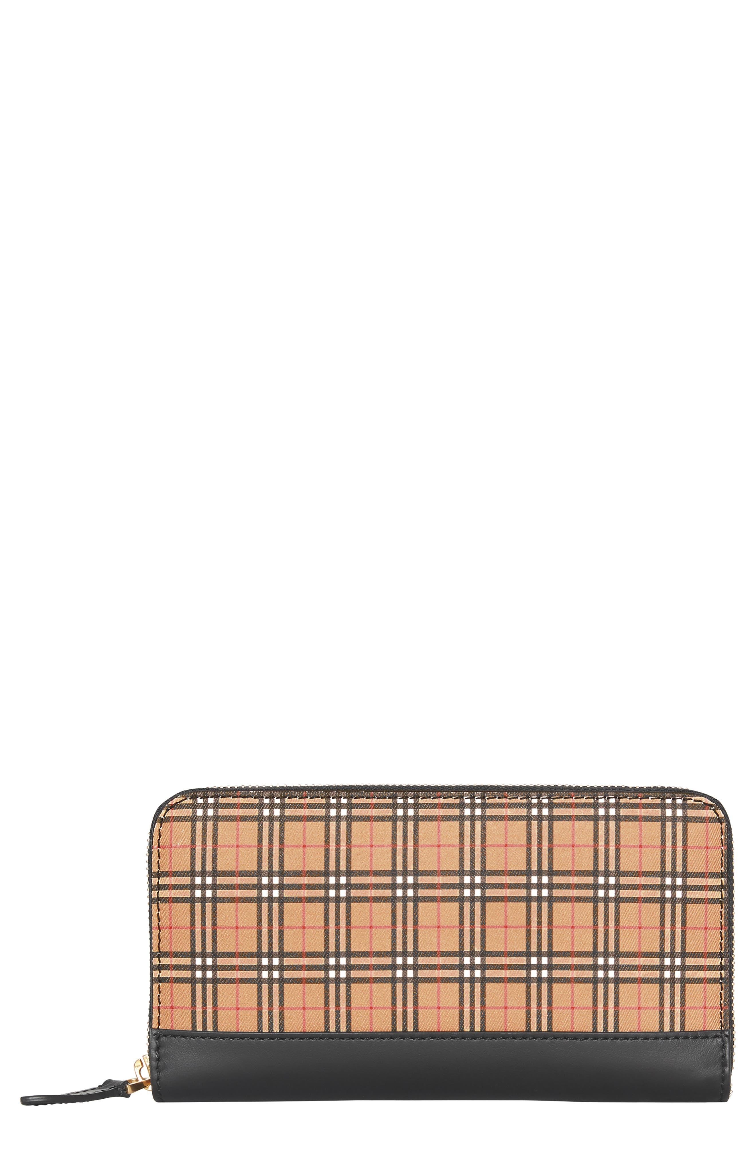 Mini Vintage Canvas Check & Leather Zip Around Wallet,                             Main thumbnail 1, color,                             ANTIQUE YELLOW