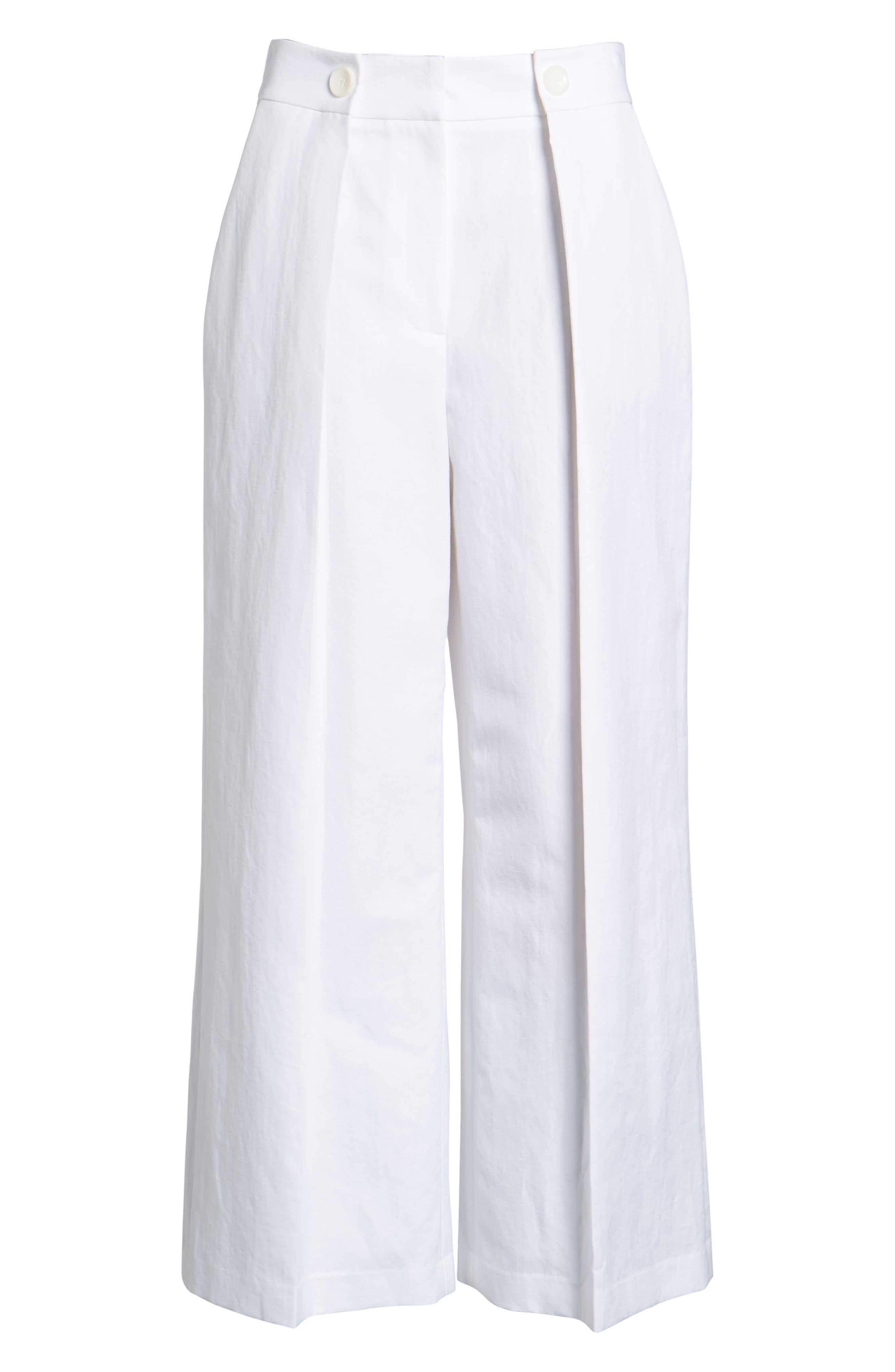 Pleated Wide Leg Linen & Cotton Pants,                             Alternate thumbnail 7, color,                             100