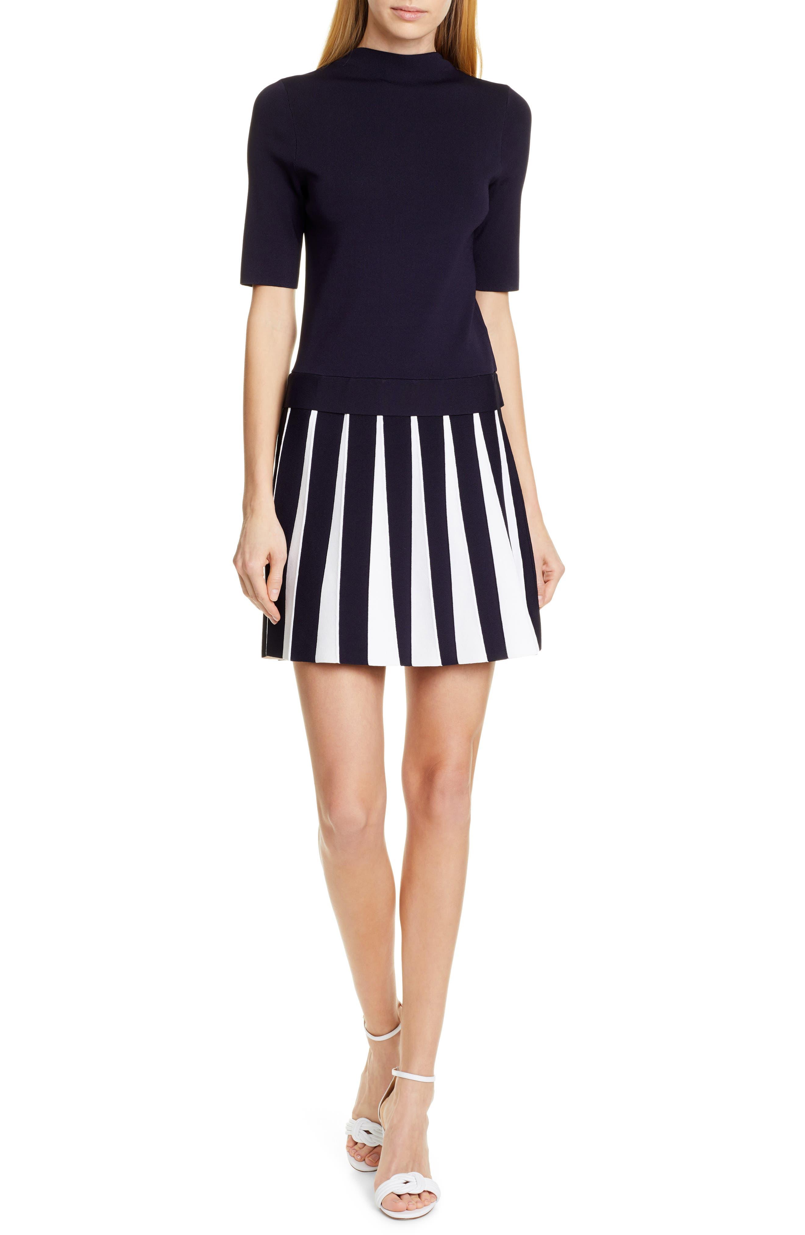 Ted Baker London Hethia Pleat Knit Dress, Blue