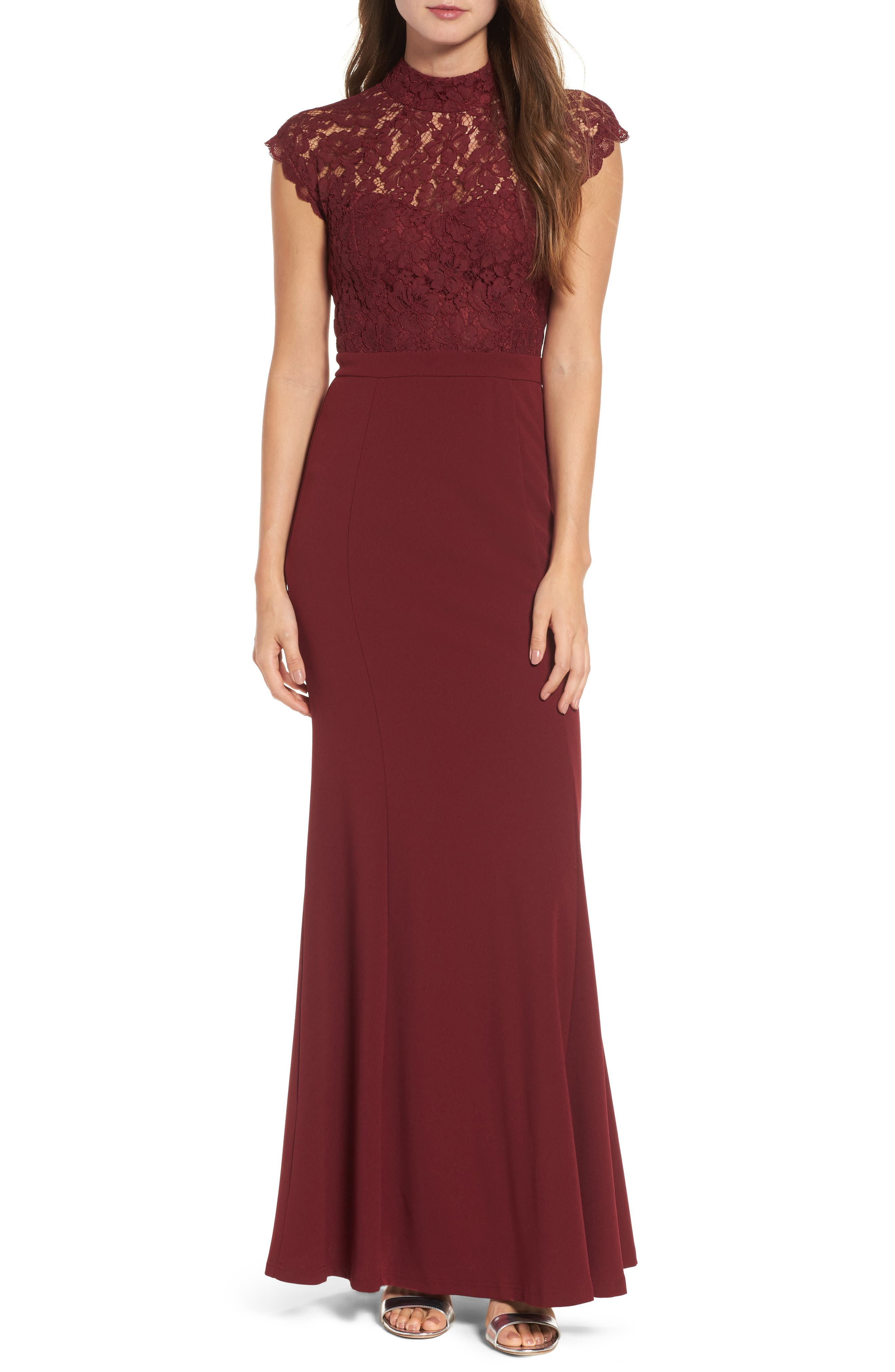 Lace Bodice Mermaid Gown,                             Main thumbnail 1, color,                             WINE