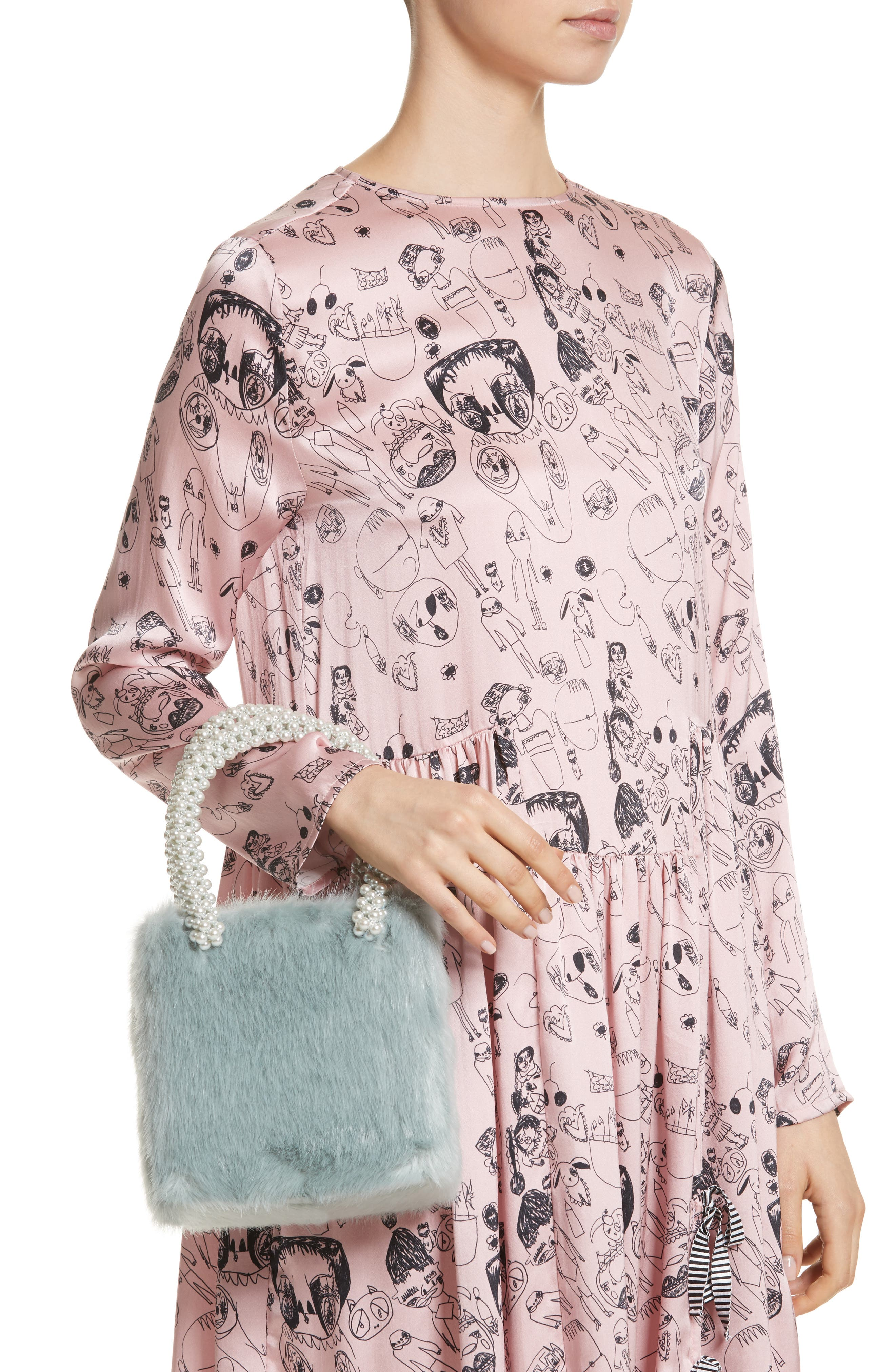 Una Check Faux Fur Bag with Imitation Pearl Handles,                             Alternate thumbnail 2, color,                             440