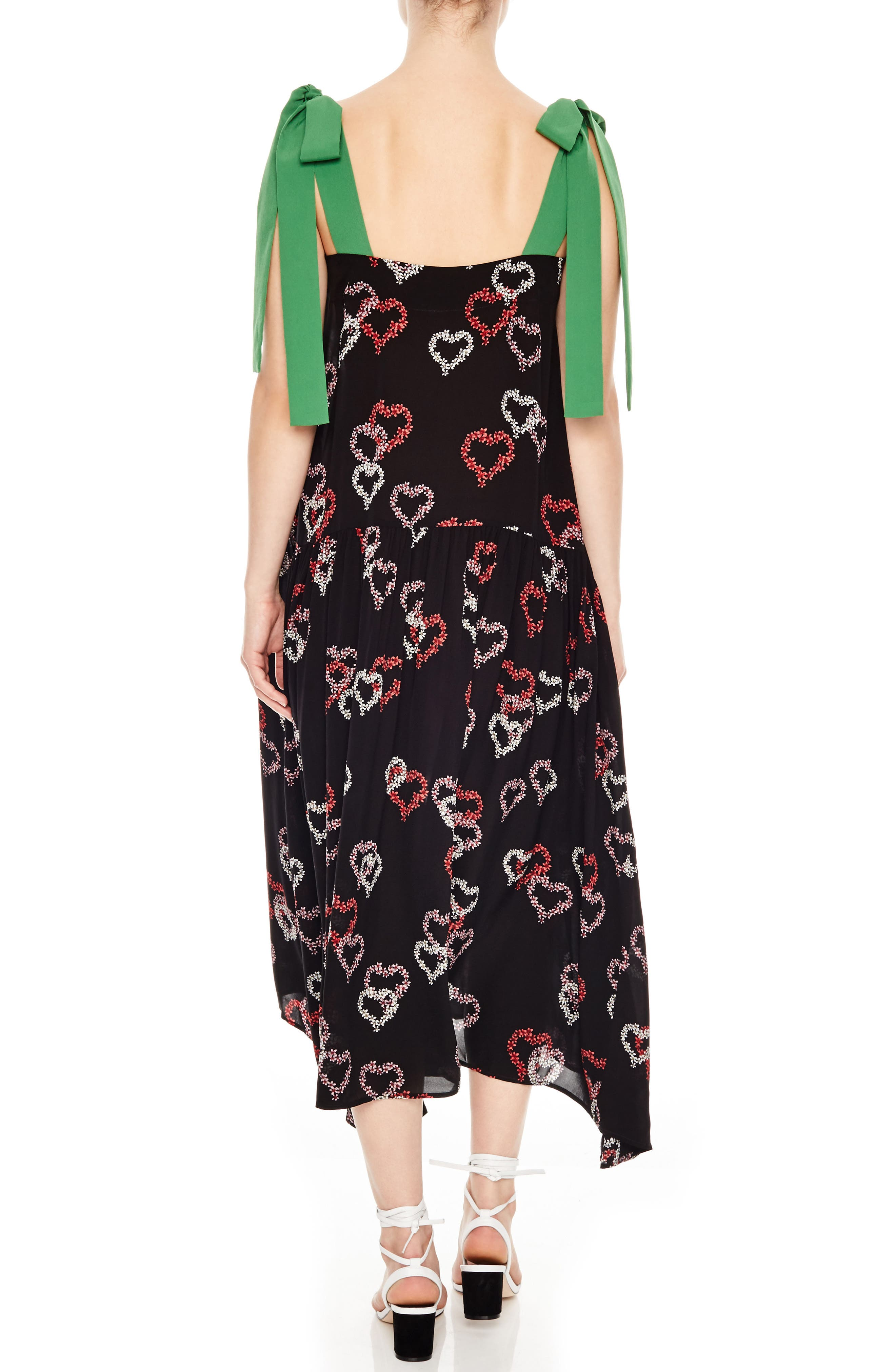 Floral Hearts Tie Strap Midi Dress,                             Alternate thumbnail 2, color,                             001