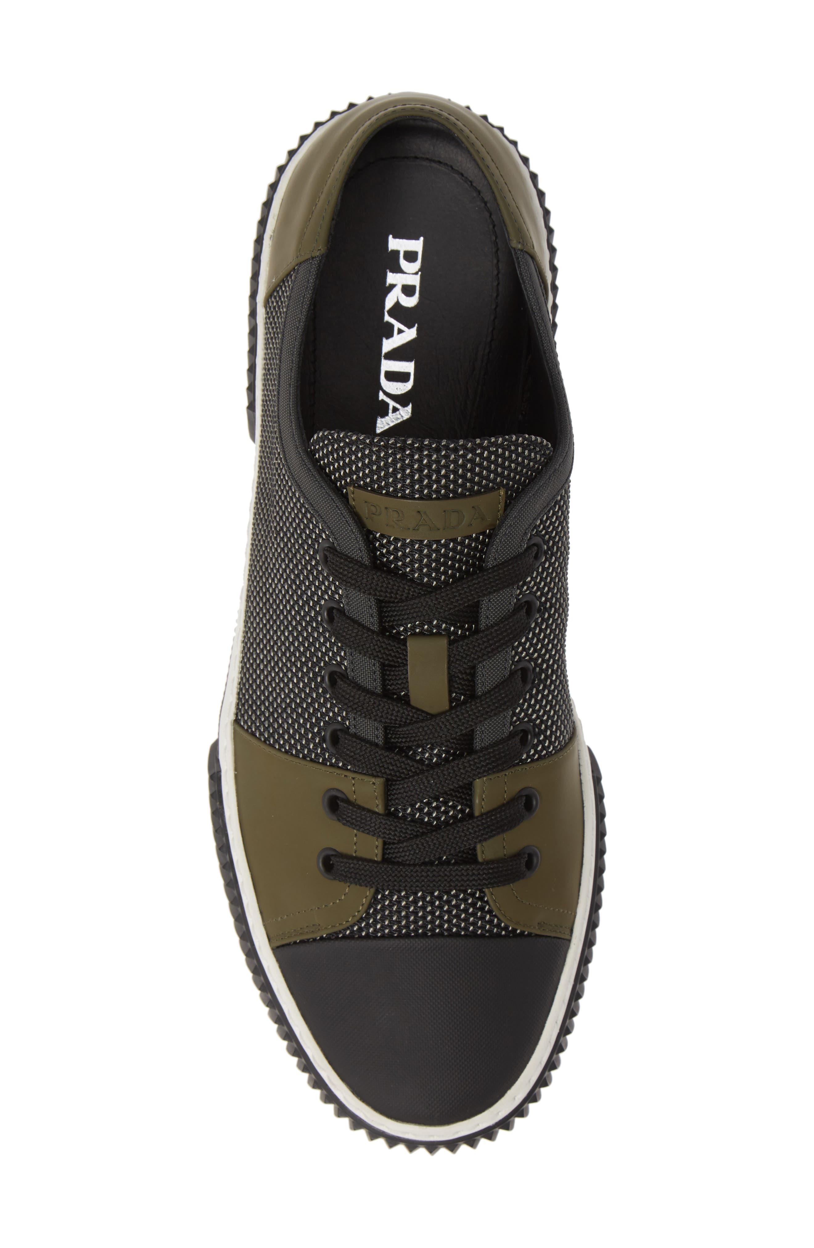 PRADA,                             Linea Rossa Sneaker,                             Alternate thumbnail 5, color,                             GREY/ BLACK