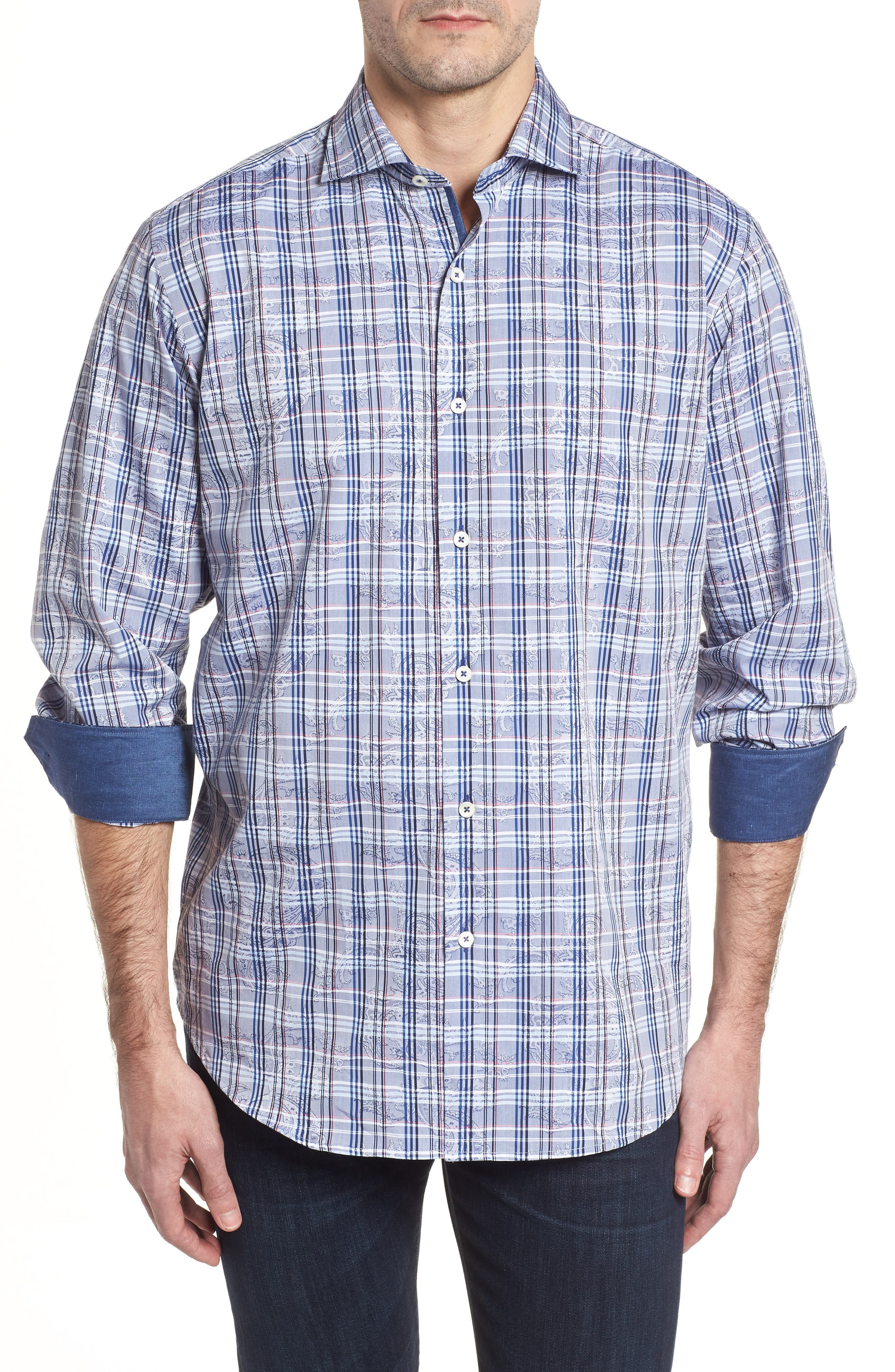 Classic Fit Check Paisley Sport Shirt,                         Main,                         color, 422